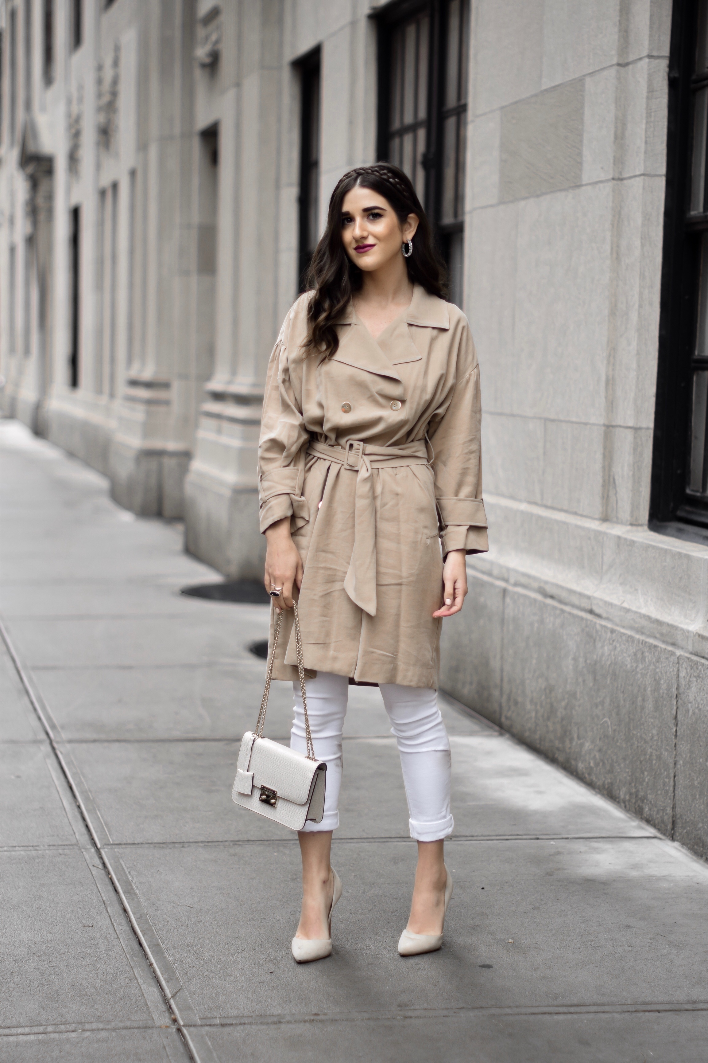 All About Me Trench Coat Dress White Jeans Esther Santer Fashion Blog NYC Street Style Blogger Outfit OOTD Trendy Braid Headband Nude Heels Steve Madden Zara Wear Shopping Sale Melissa Lovy Baby Serena Hoops Shoes Fall  Look Buy Henri Bendel Bag Purse.jpg