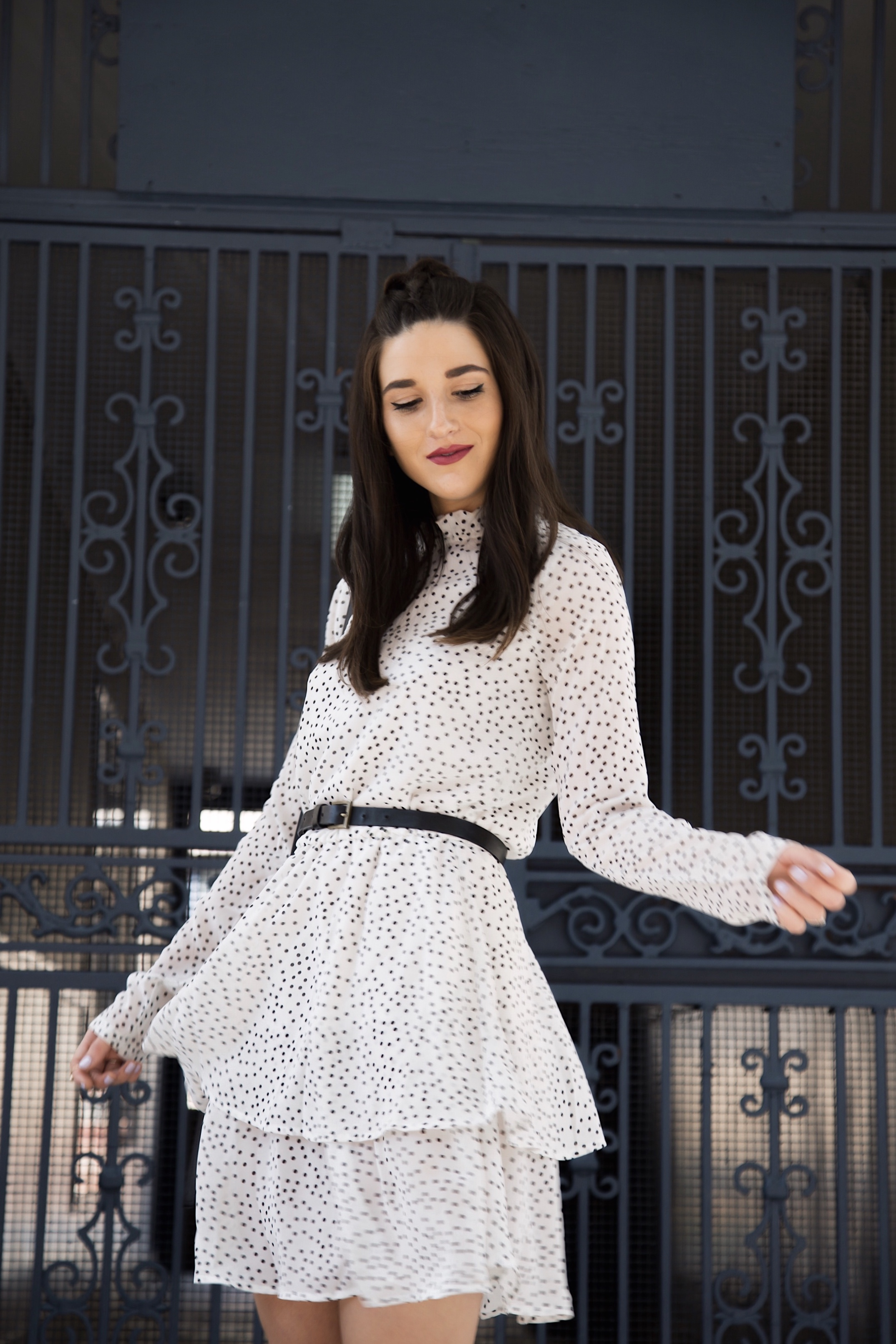 Dealing With Anxiety Polka Dot Tiered Dress Black Heels Esther Santer Fashion Blog NYC Street Style Blogger Outfit OOTD Trendy Braid Hair Pretty Details Pointy Toe Hairstyle Photoshoot  By Jackie Shelly Mock Neck Fall 2018 Inspo Inspiration Cute Shop.jpg