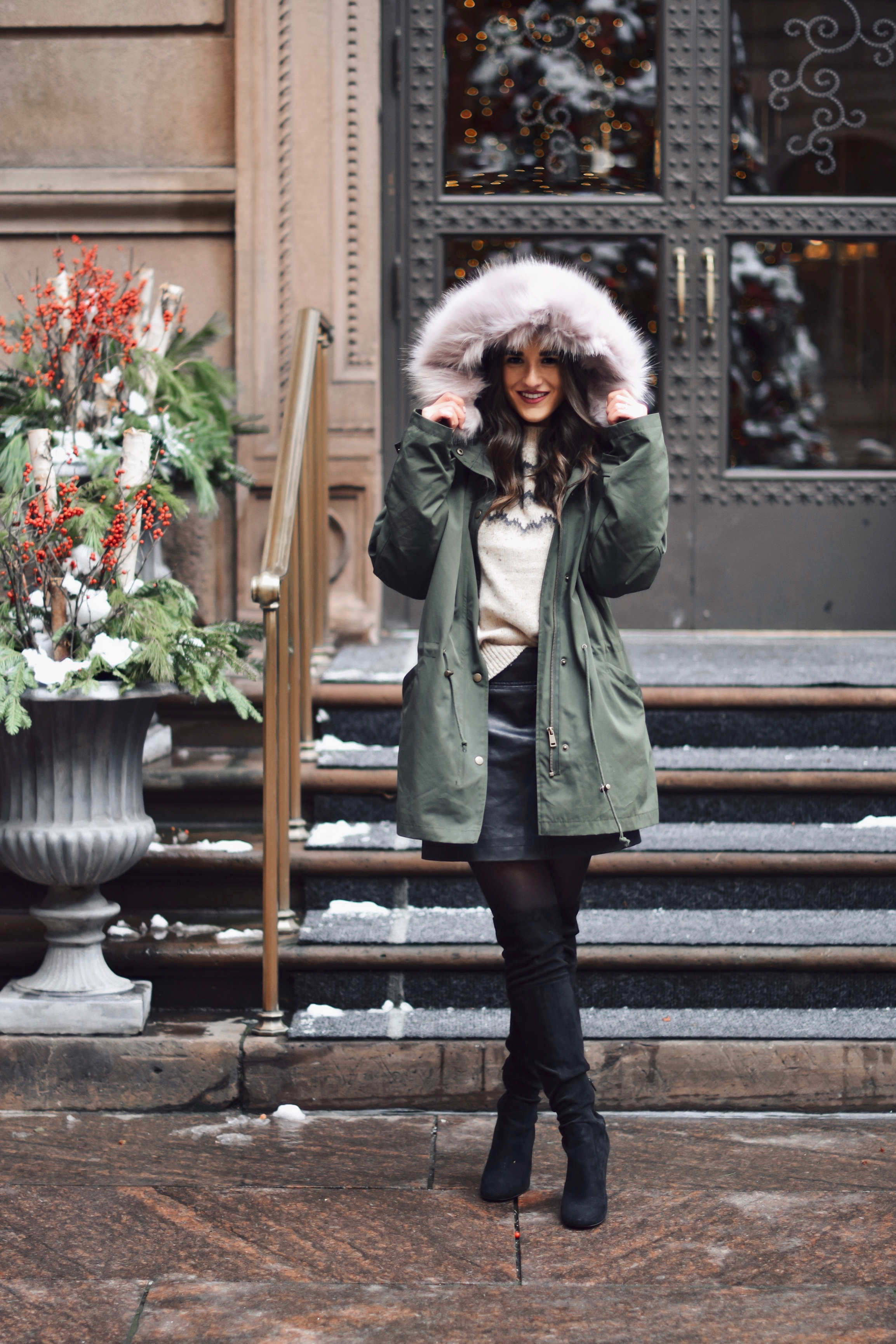 11 Of My Favorite Business Minded Quotes Fur Hooded Parka Cashmere Sweater Esther Santer Fashion Blog NYC Street Style Blogger Outfit OOTD Trendy Vince Urban Outfitters Cozy Winter Shopping Wear Jacket Coat  Cold Weather OTK Boots Buy Pleather Skirt.jpg