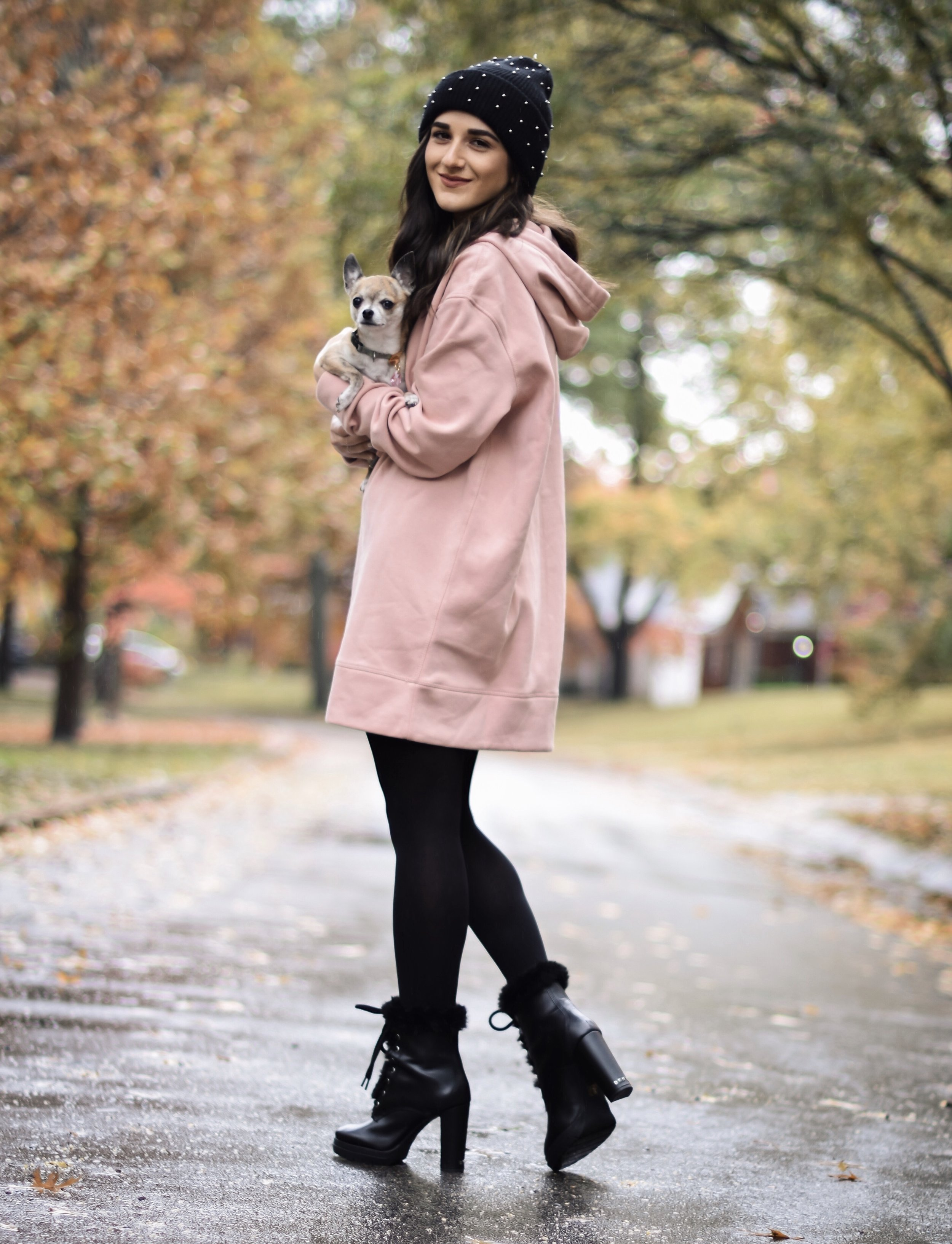 Getting Winter Ready With Macy's Esther Santer Fashion Blog NYC Street Style Blogger Outfit OOTD Trendy Chihuahua Pink Sweatshirt Dress Black Beanie Black Fur Booties Shoes Boots Fall  Winter Outfit Tights Beautiful H&M Shop Cute Puppy Dog Inspiration.jpg
