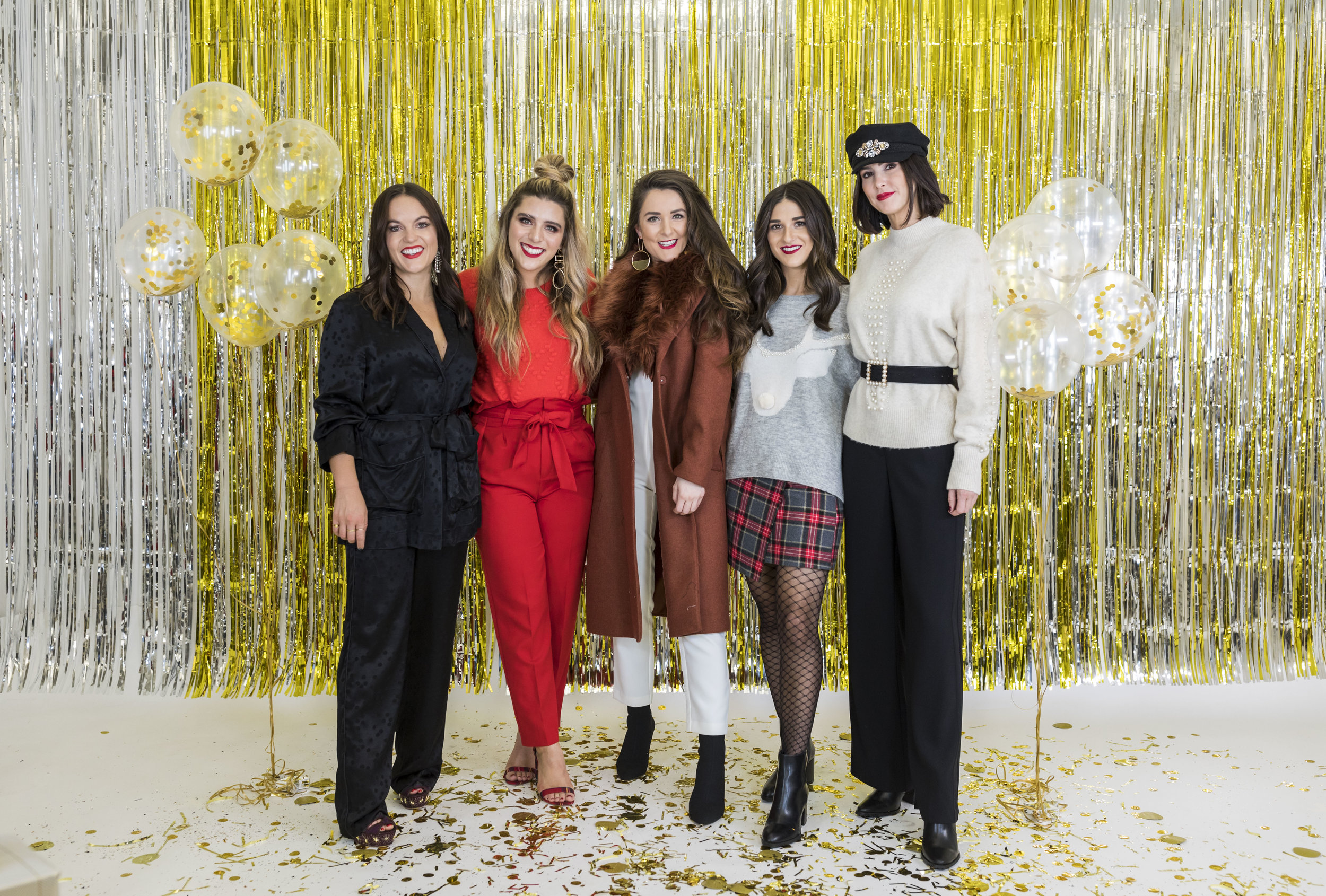 H&M Holiday Video Collab Esther Santer Fashion Blog NYC Street Style Blogger Outfit OOTD Trendy Confetti Streamers Balloons Presents Gift Wrap Shopping Wear Stylist Photoshoot Sweater Plaid Skirt DryBar Hairstyle Friends Girl Smile Jewelry Accessories.jpg