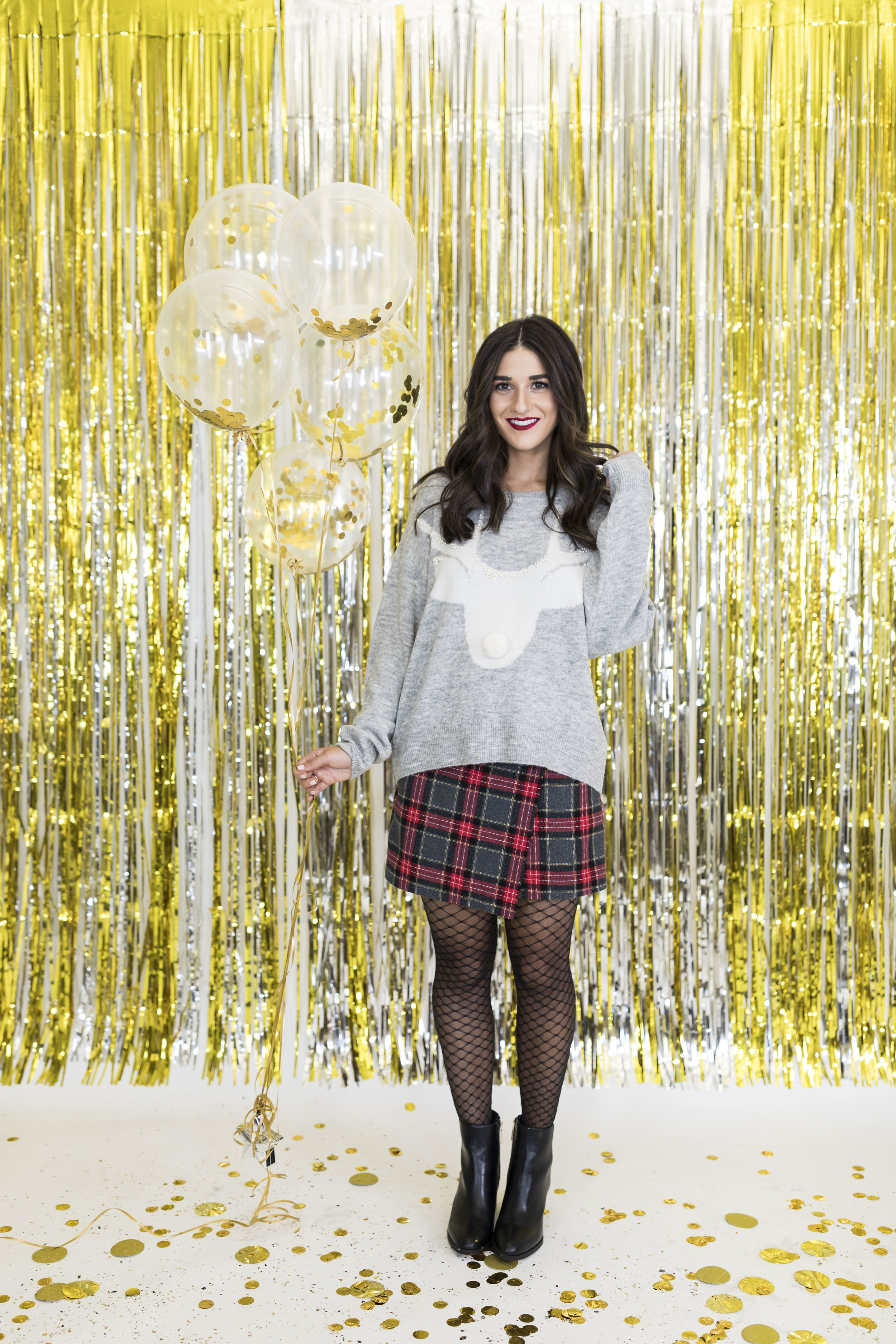 H&M Holiday Video Collab Esther Santer Fashion Blog NYC Street Style Blogger Outfit OOTD Trendy Confetti Streamers Balloons Presents Gift Wrap Shopping Wear Stylist Photoshoot Sweater Plaid Skirt DryBar Hairstyle Friends Girls Lace Accessories Jewelry.jpg