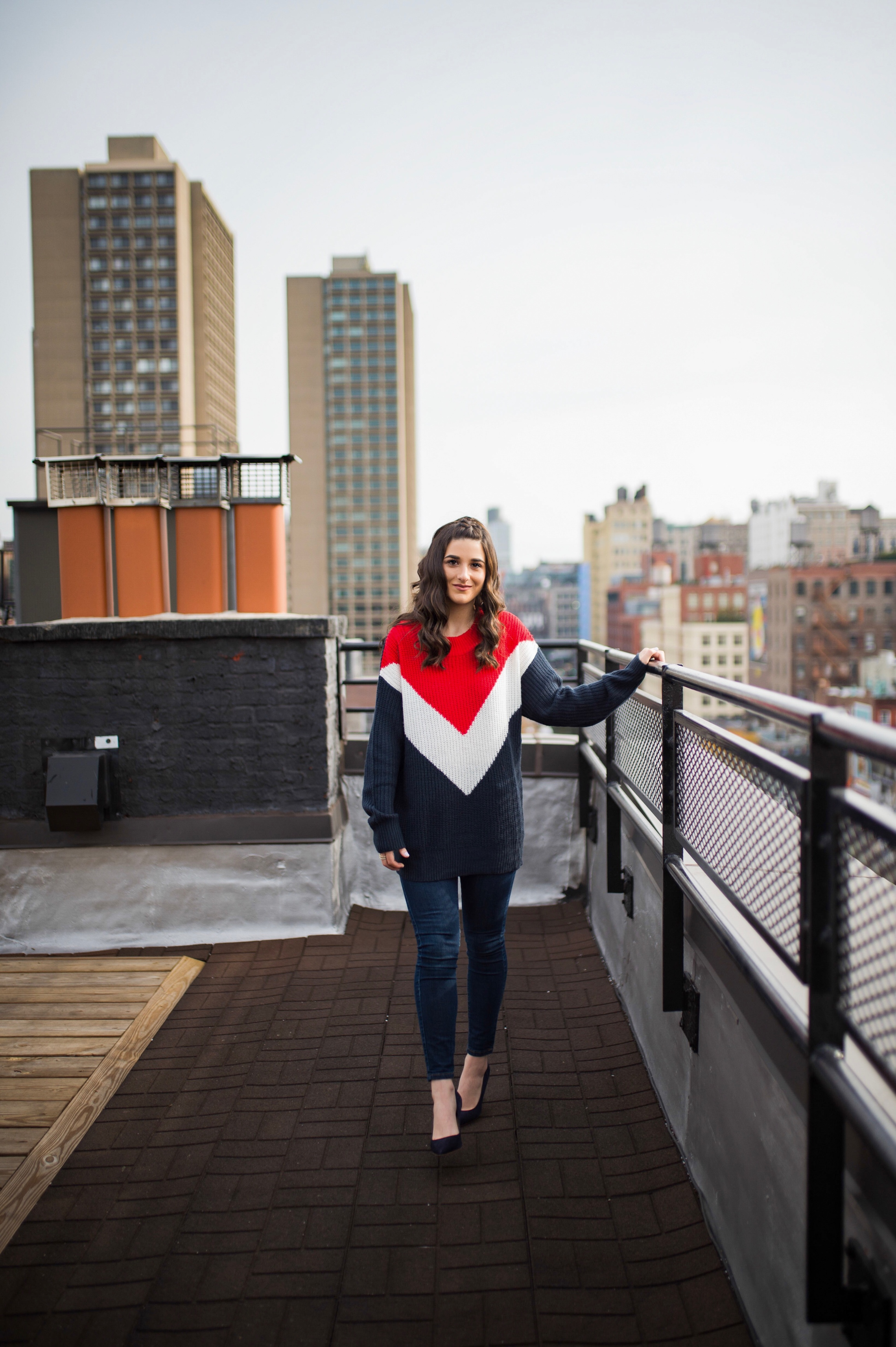 Advice For The Micro-influencer Oversized Sweater Navy Heels Esther Santer Fashion Blog NYC Street Style Blogger Outfit OOTD Trendy Shopping Subtle Balayage Highlights Hair Jeans Sally Hershberger Chic Girl How To Wear Red White Blue Winter Women 2018.jpg