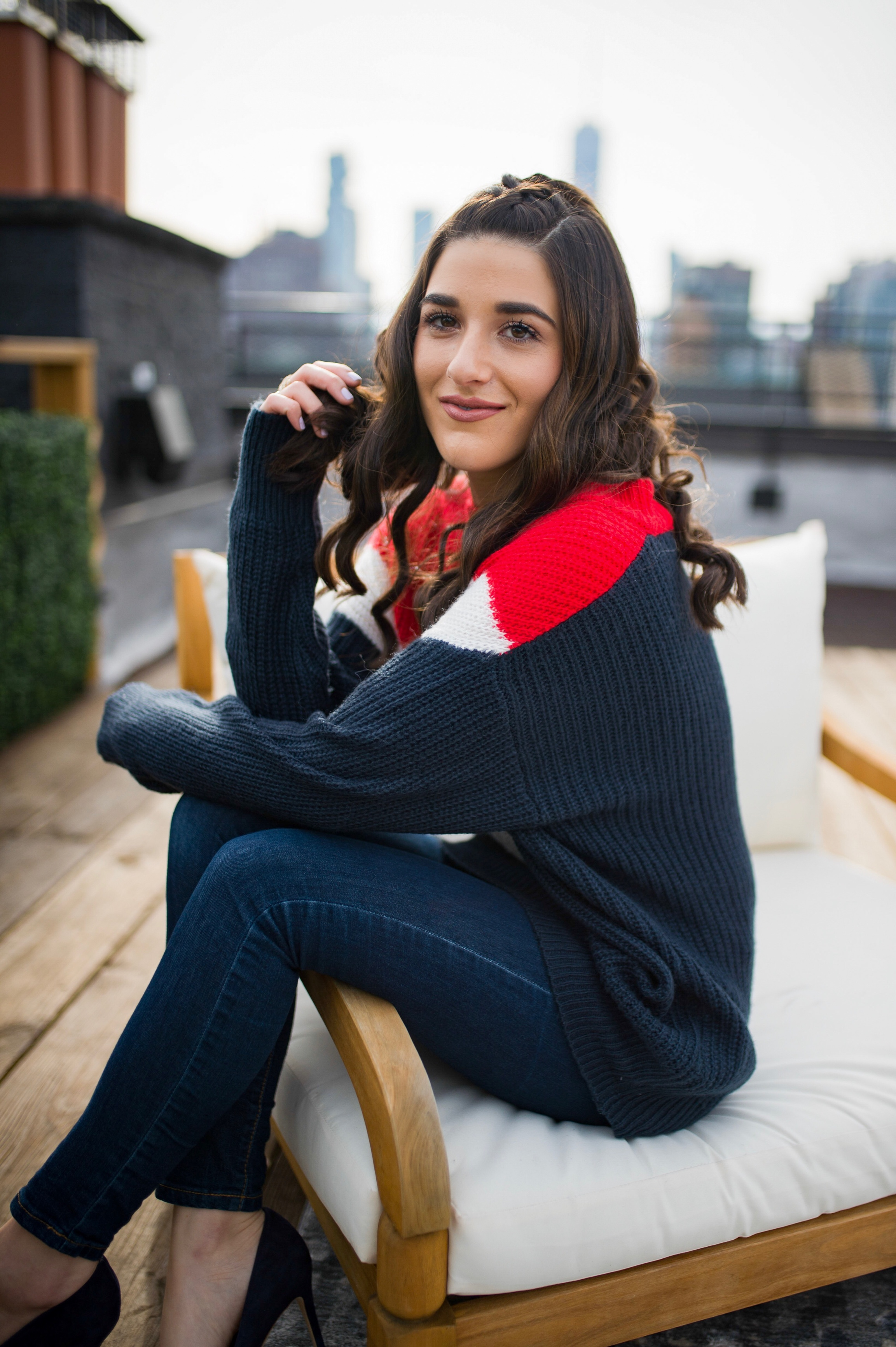 Advice For The Micro-influencer Oversized Sweater Navy Heels Esther Santer Fashion Blog NYC Street Style Blogger Outfit OOTD Trendy Shopping Subtle Balayage Highlights Hair Jeans Sally Hershberger Girl Chic How To Wear Women Red White Blue Winter Fall.jpg