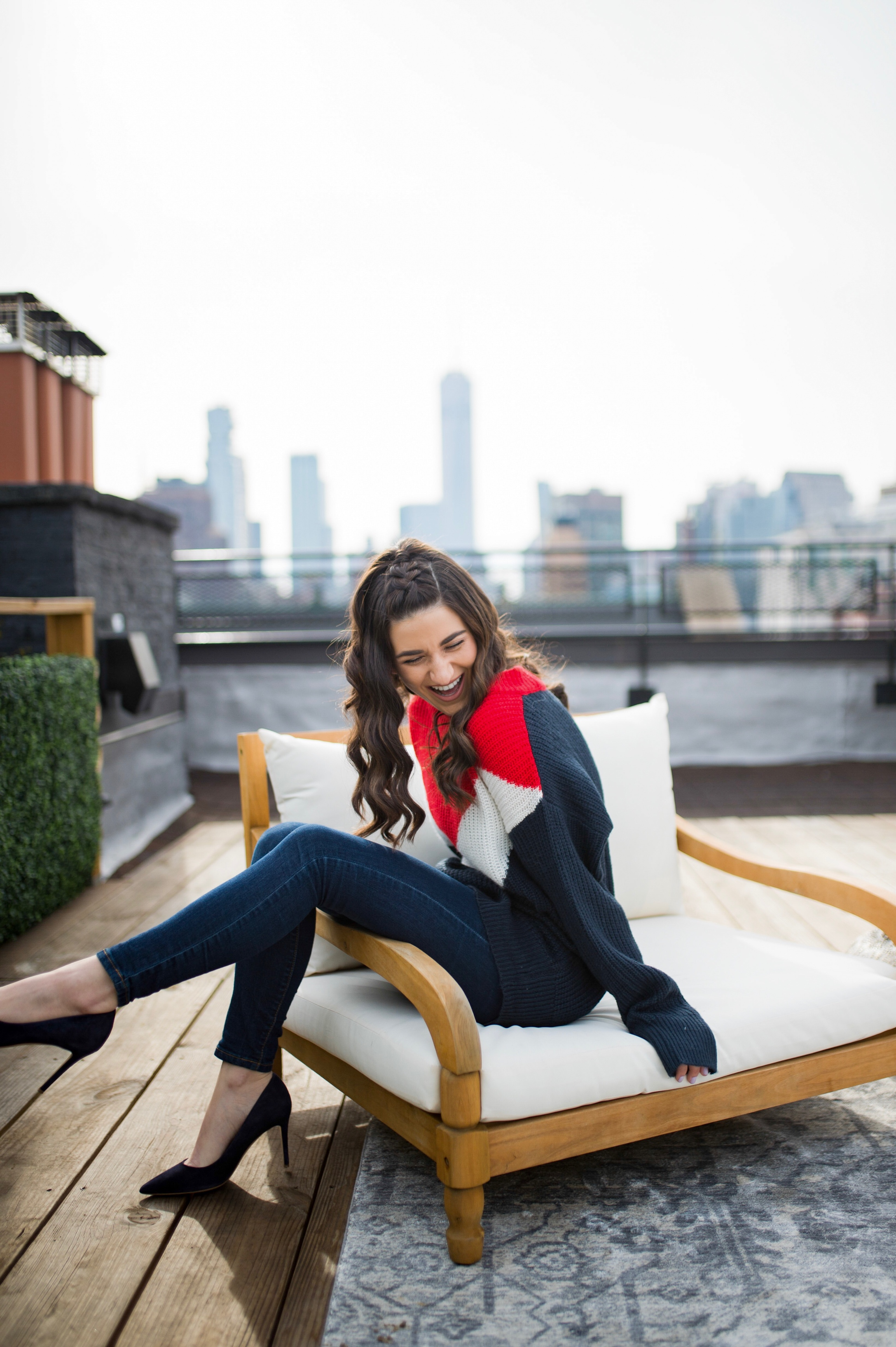 Advice For The Micro-influencer Oversized Sweater Navy Heels Esther Santer Fashion Blog NYC Street Style Blogger Outfit OOTD Trendy Shopping Subtle Balayage Highlights Hair Jeans Sally Hershberger Girl How To Wear Red White Blue Winter Women 2018 Chic.jpg