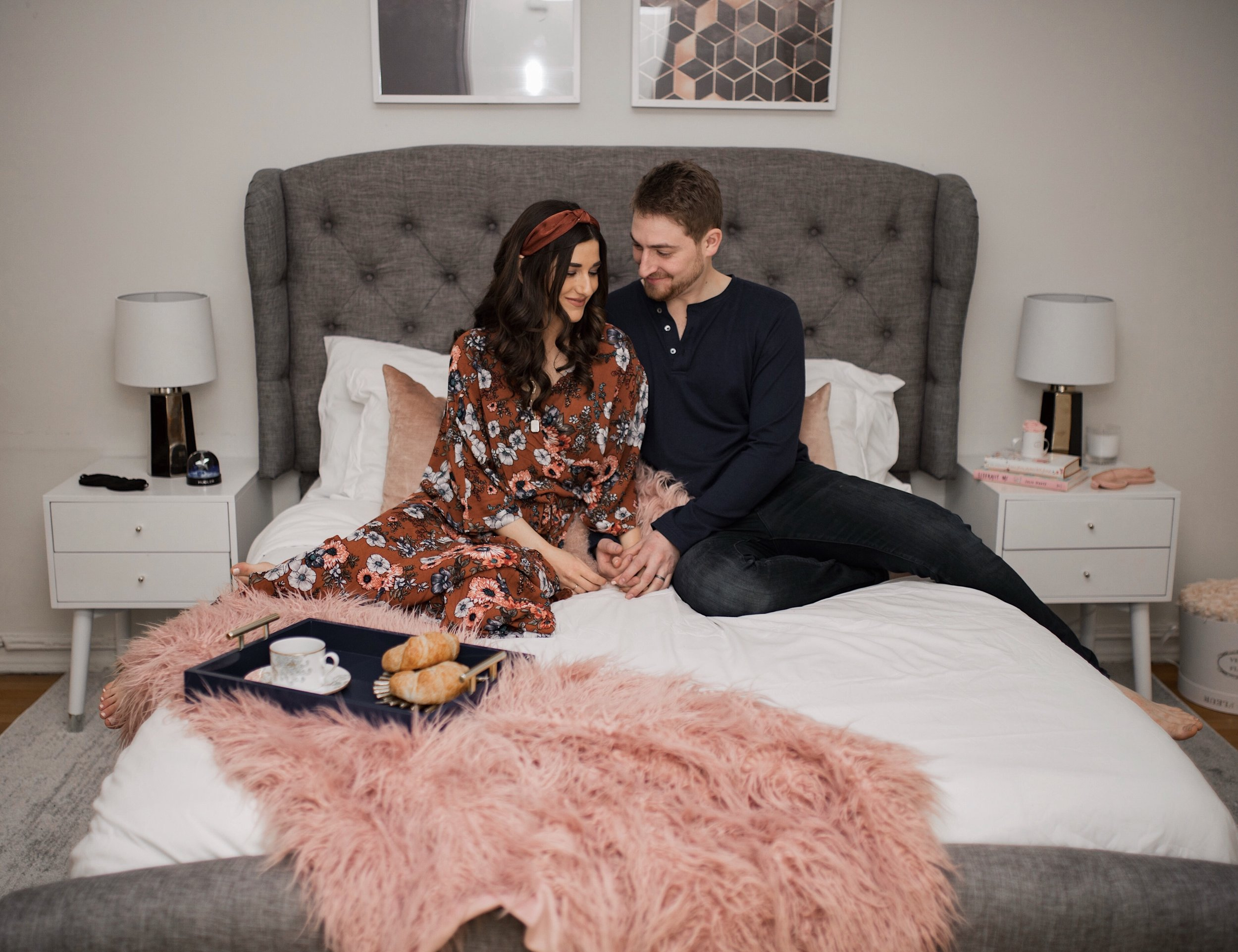 My Bedroom Reveal Joss & Main Esther Santer Fashion Blog NYC Street Style Blogger White Duvet Cover Pink Furry Throw Pillows Blanket Blush Gold Lamps Grey Bed Headboard Shopping Buy Beautiful Room  Furniture White Nightstands Art Navy Tray Breakfast.jpg