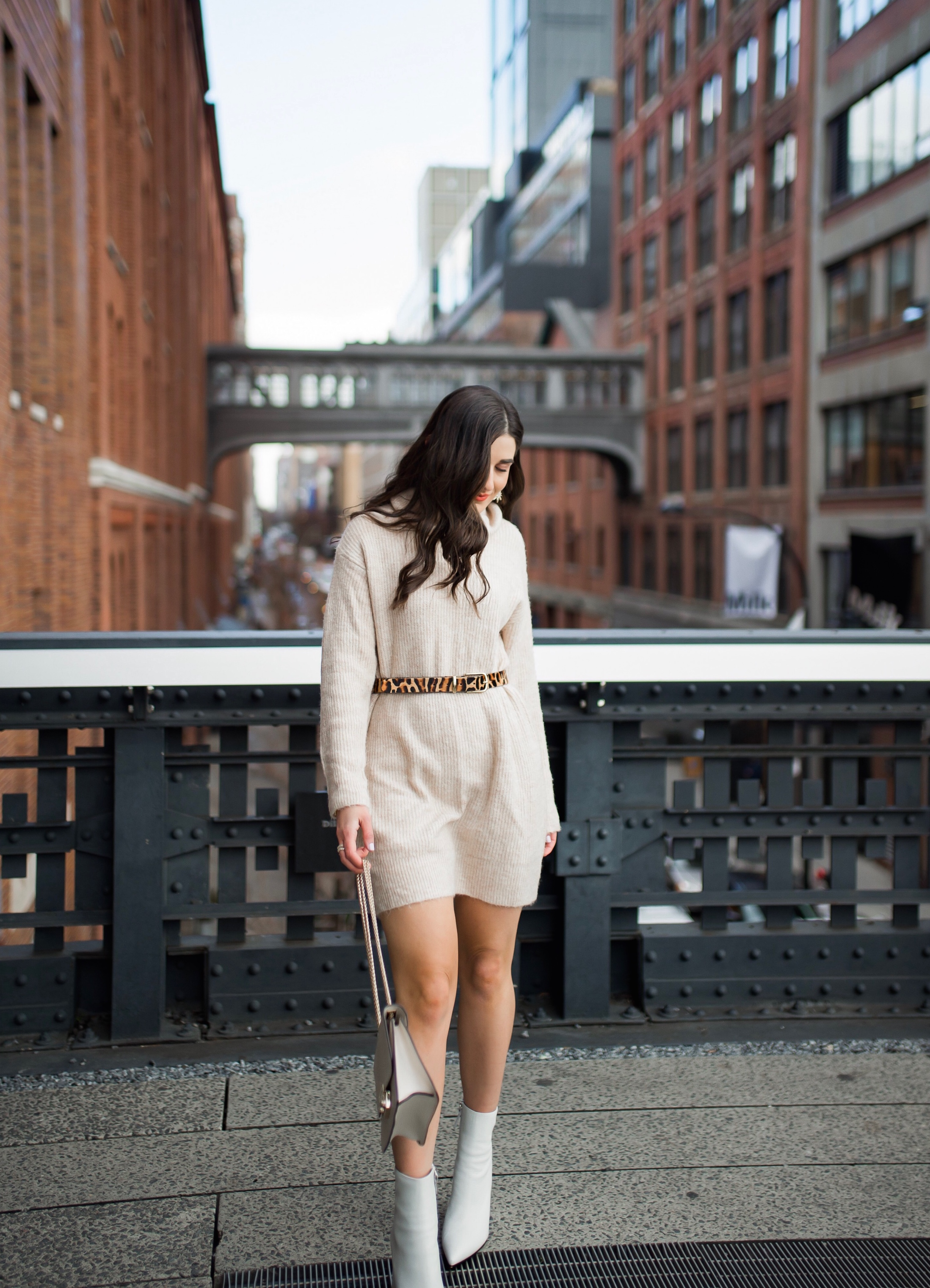 Why Blogging Is Far From Freeloading Beige Sweater Dress White Booties Esther Santer Fashion Blog NYC Street Style Blogger Outfit OOTD Trendy Shopping Leopard Belt Neutral Winter How To Wear Shop  Sale Mango Jcrew Inspiration The High Line Photoshoot.jpg