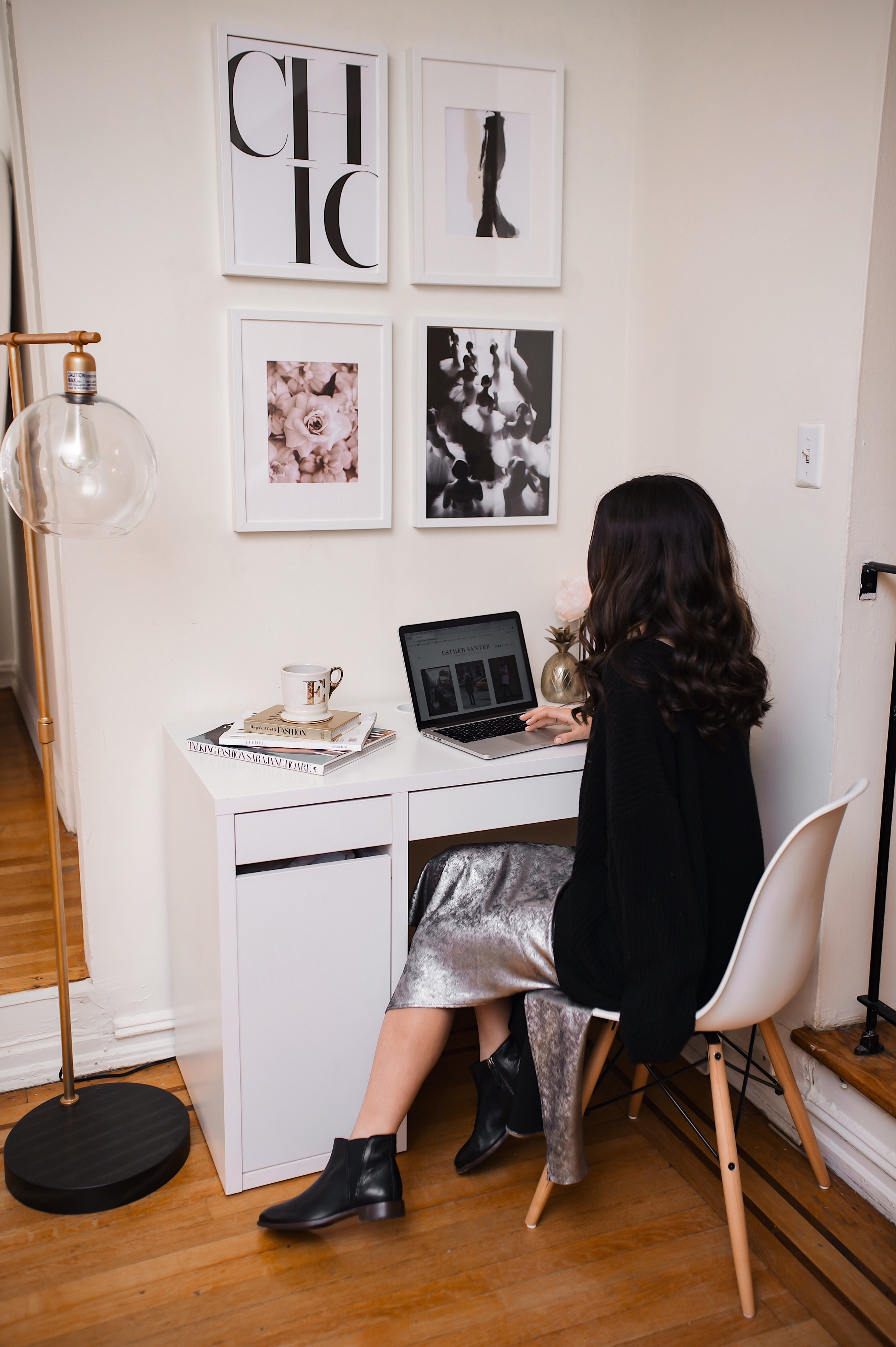 Selling Out And That Time I Got Stuck In A Contract Esther Santer Fashion Blog NYC Street Style Blogger Outfit OOTD Trendy Shopping Computer Macbook Home Office Space Ikea Joss & Main Artwork Prints White Picture Frames Lamp Comfy What To Wear Work.jpg