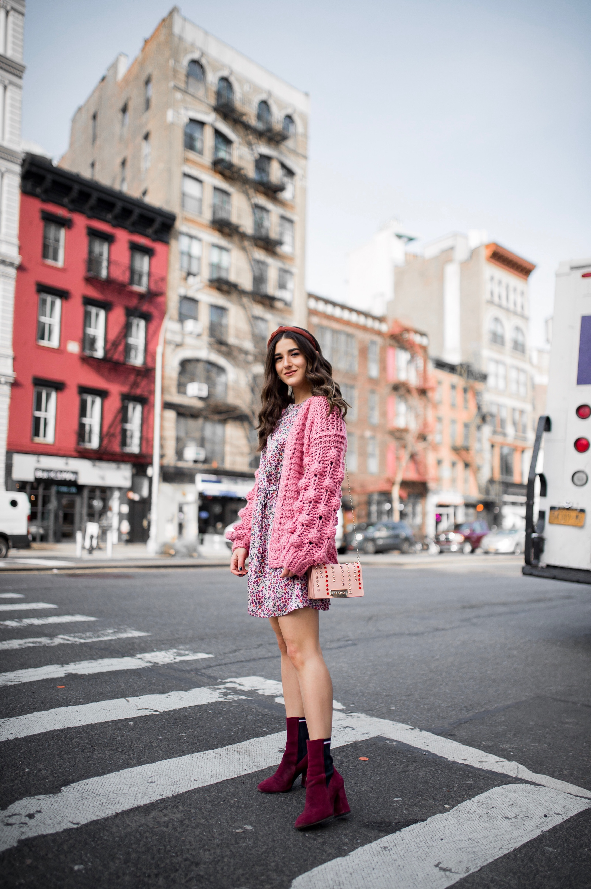 How Being In A Miserable Job Shaped My Entire Career Silk Floral Dress + Pink Pom Pom Sweater Esther Santer Fashion Blog NYC Street Style Blogger Outfit OOTD Trendy Shopping Mango Sale Winter How To Wear Maroon Velvet Booties Zac Posen Swarovski Bag.jpg