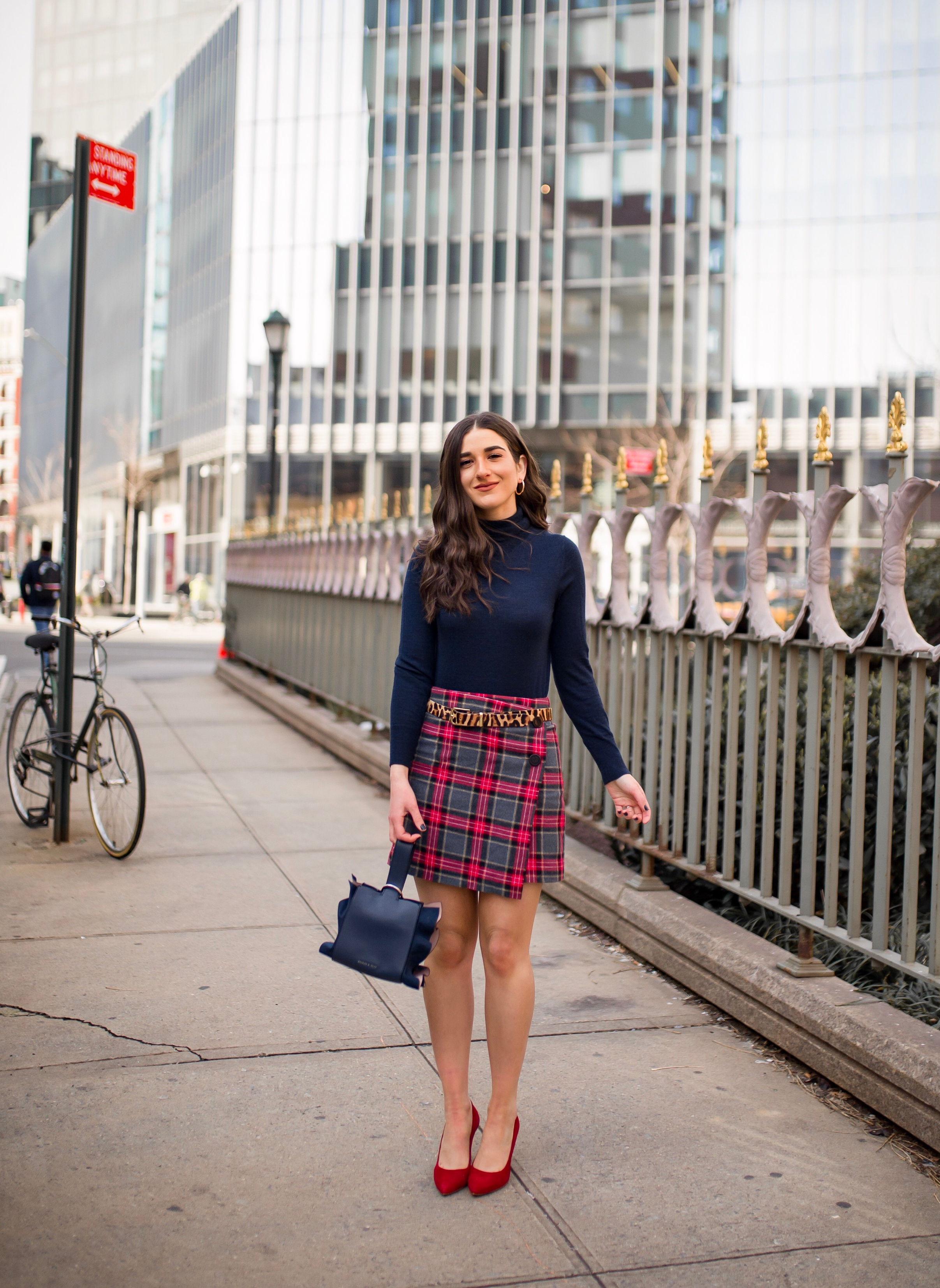 How NYFW Changed From My 1st To 12th Season Plaid Skirt Red Heels Esther Santer Fashion Blog NYC Street Style Blogger Outfit OOTD Trendy Shopping Navy Turtleneck Hair Goals Wear Winter Fall Shop Jcrew H&M Banana Republic Leopard  Belt Accessories Bag.jpg
