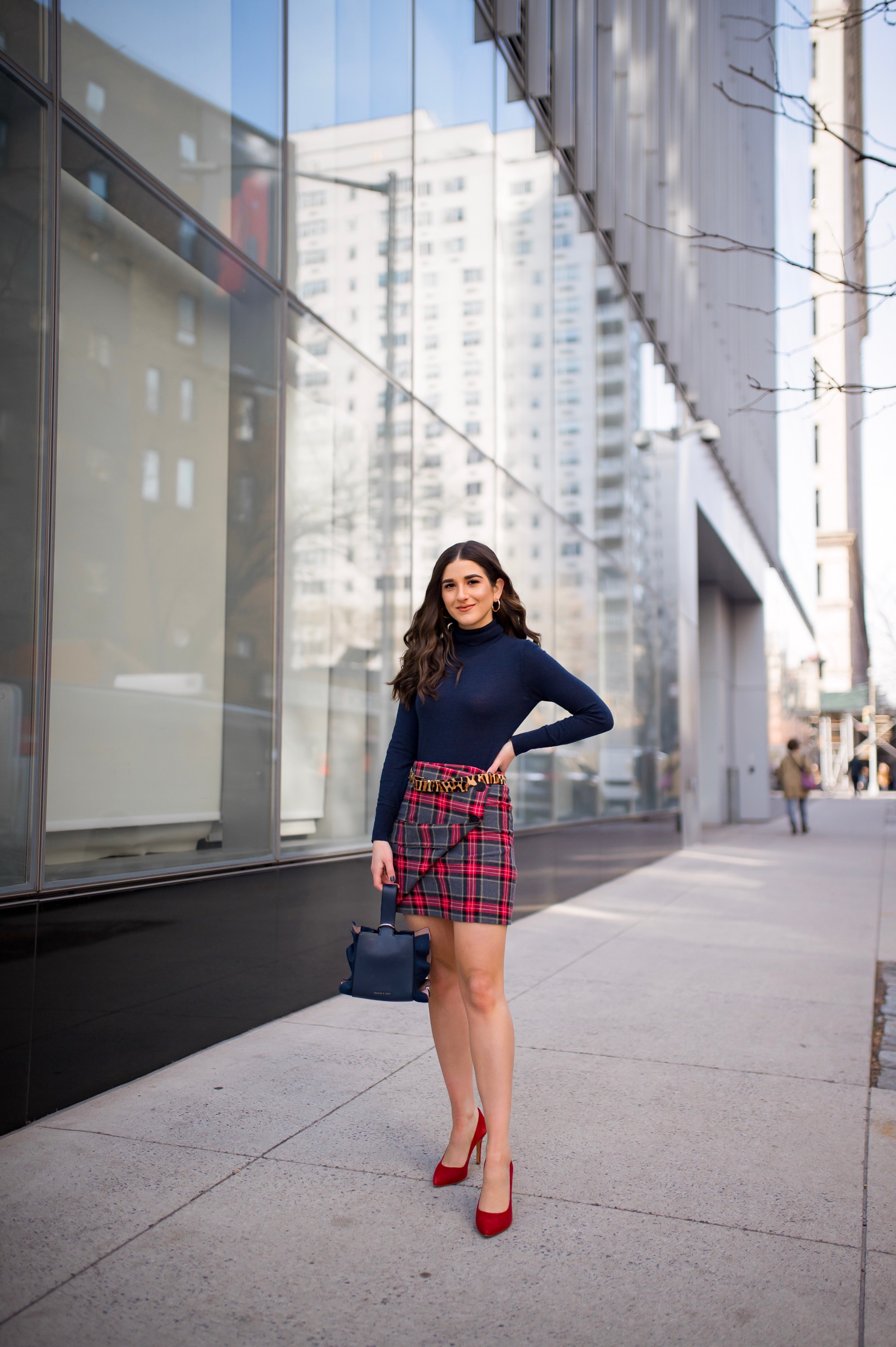 How NYFW Changed From My 1st To 12th Season Plaid Skirt Red Heels Esther Santer Fashion Blog NYC Street Style Blogger Outfit OOTD Trendy Shopping Navy Turtleneck Hair Goals Wear Winter Fall Shop Jcrew H&M Banana Republic Leopard Belt Accessories Bag .jpg