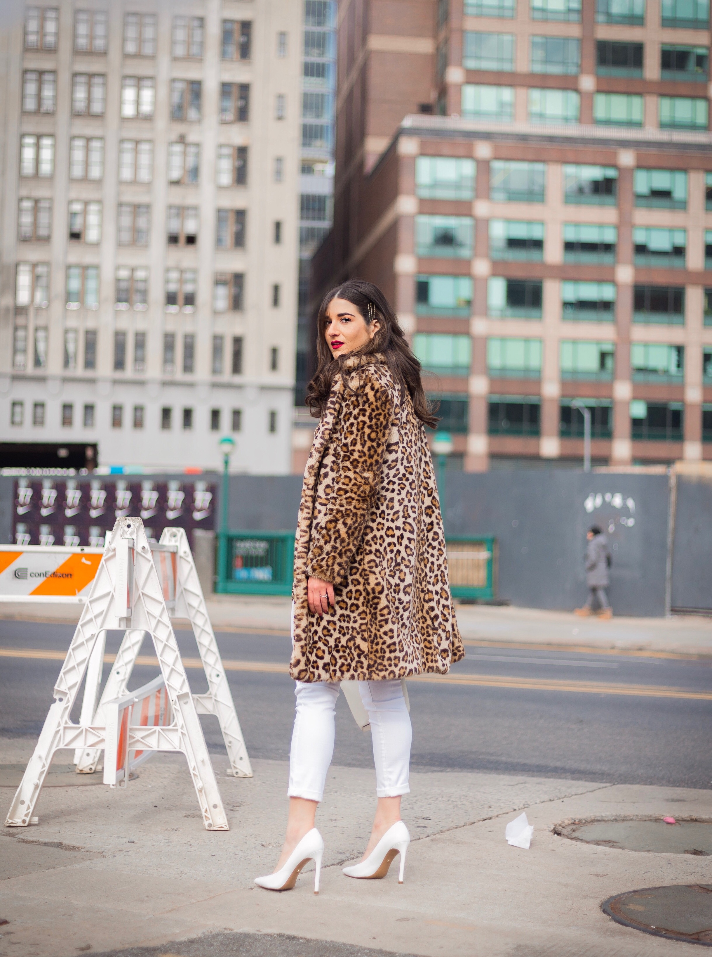 Dressing Up My Democracy Denim Esther Santer Fashion Blog NYC Street Style Blogger Outfit OOTD Trendy Shopping White Jeans Leopard Top Coat Inspo Bobby Pins Hair Trend White Heels Chaya Ross Photography Gold Belt Cream Chain Small Bag Wear Inspiration.jpg