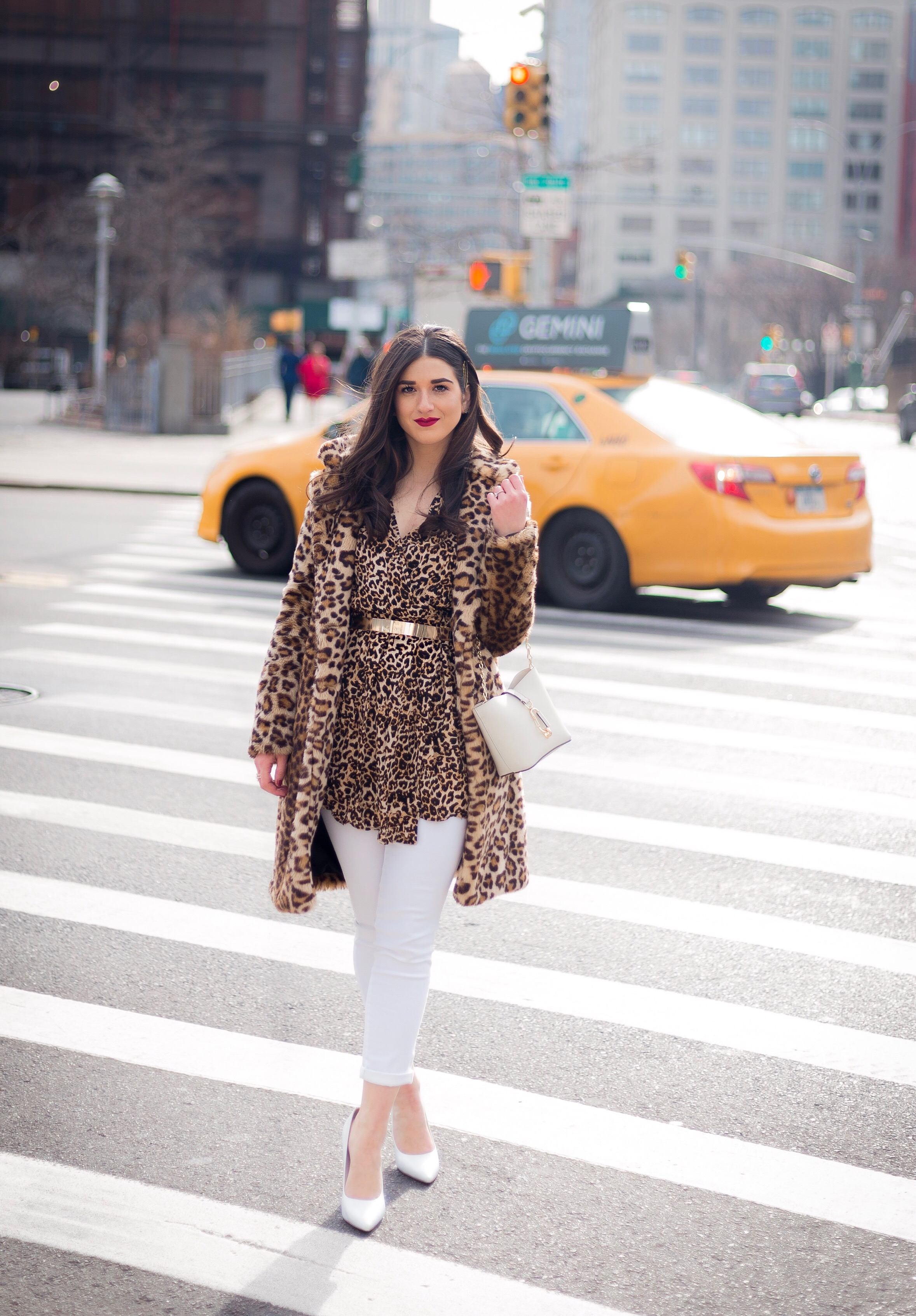Dressing Up My Democracy Denim Esther Santer Fashion Blog NYC Street Style Blogger Outfit OOTD Trendy Shopping White Jeans Leopard Top Coat Inspo Bobby Pins Hair Trend White Heels Chaya Ross Photography Gold Belt Cream Chain Small Bag Inspiration Wear.jpg