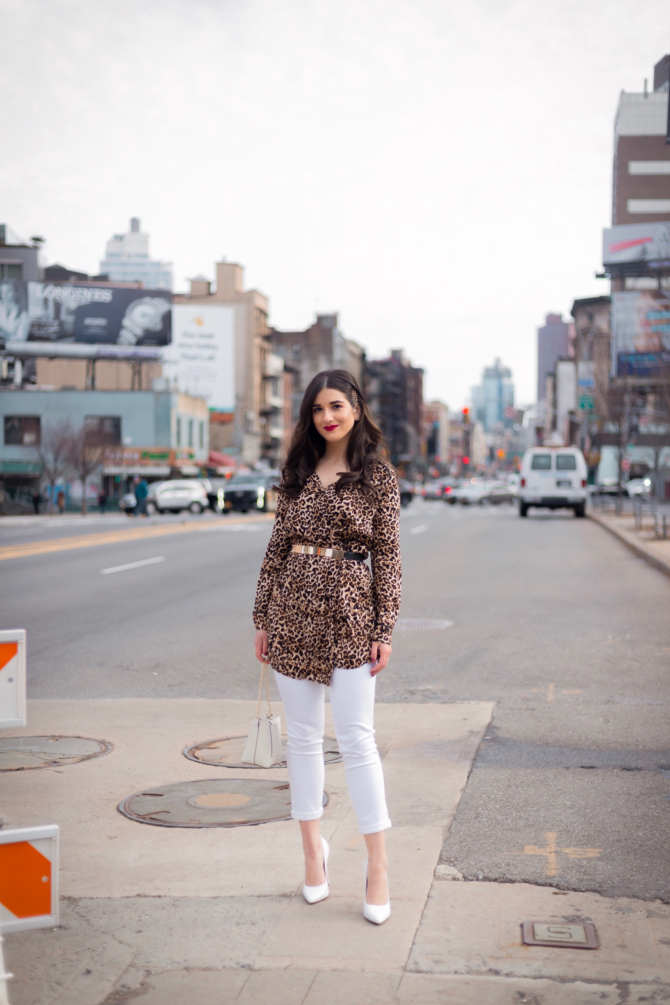 Dressing Up My Democracy Denim Esther Santer Fashion Blog NYC Street Style Blogger Outfit OOTD Trendy Shopping White Jeans Leopard Top Coat Inspo Bobby Pins Hair Trend White Heels Wear Chaya Ross Photography Inspiration Cream Chain Small Bag Gold Belt.jpg