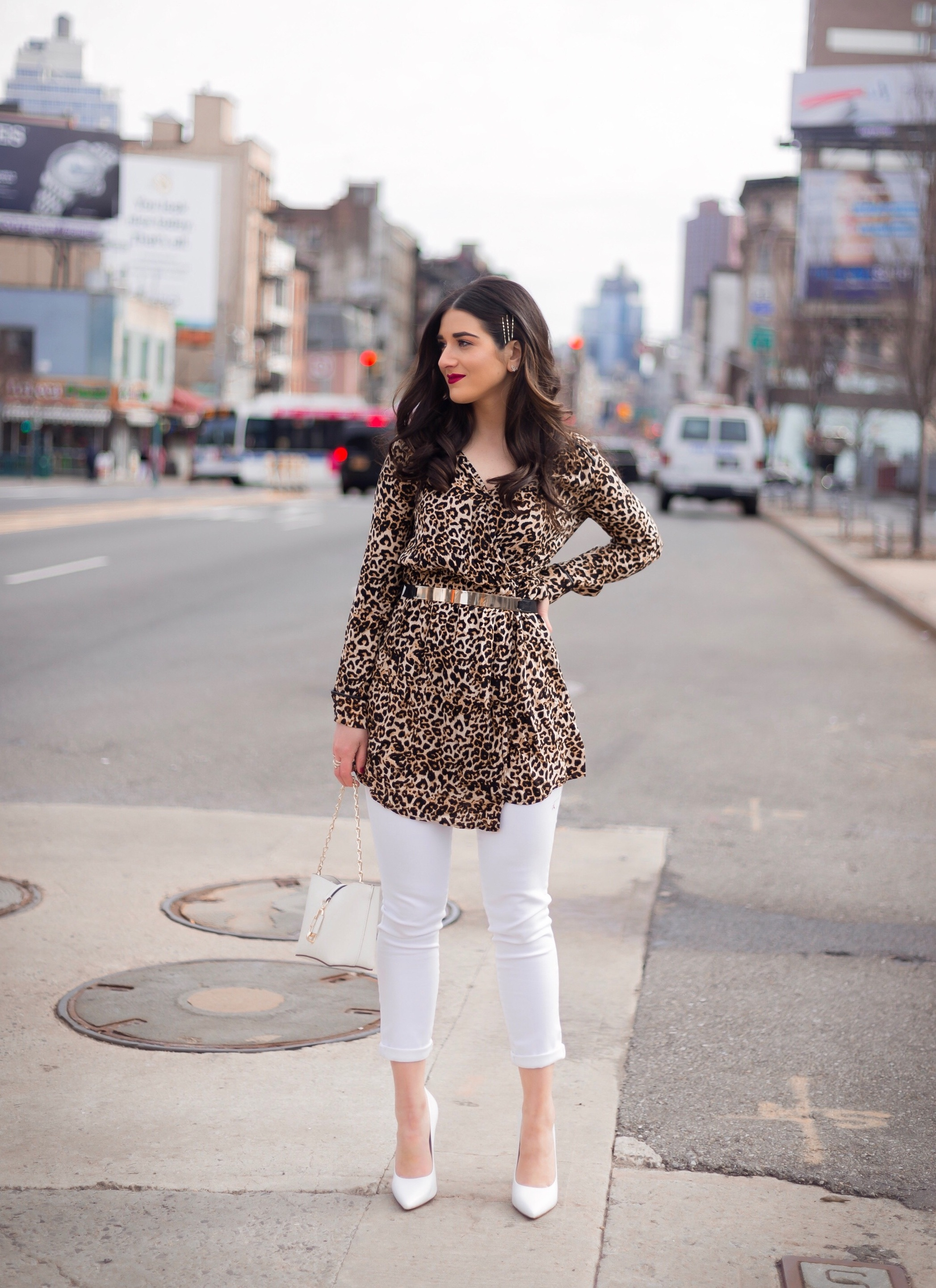 Dressing Up My Democracy Denim Esther Santer Fashion Blog NYC Street Style Blogger Outfit OOTD Trendy Shopping White Jeans Leopard Top Coat Inspo Bobby Pins Hair Trend White Heels Chaya Ross Photography Wear Gold Belt Cream Chain Small Bag Inspiration.jpg