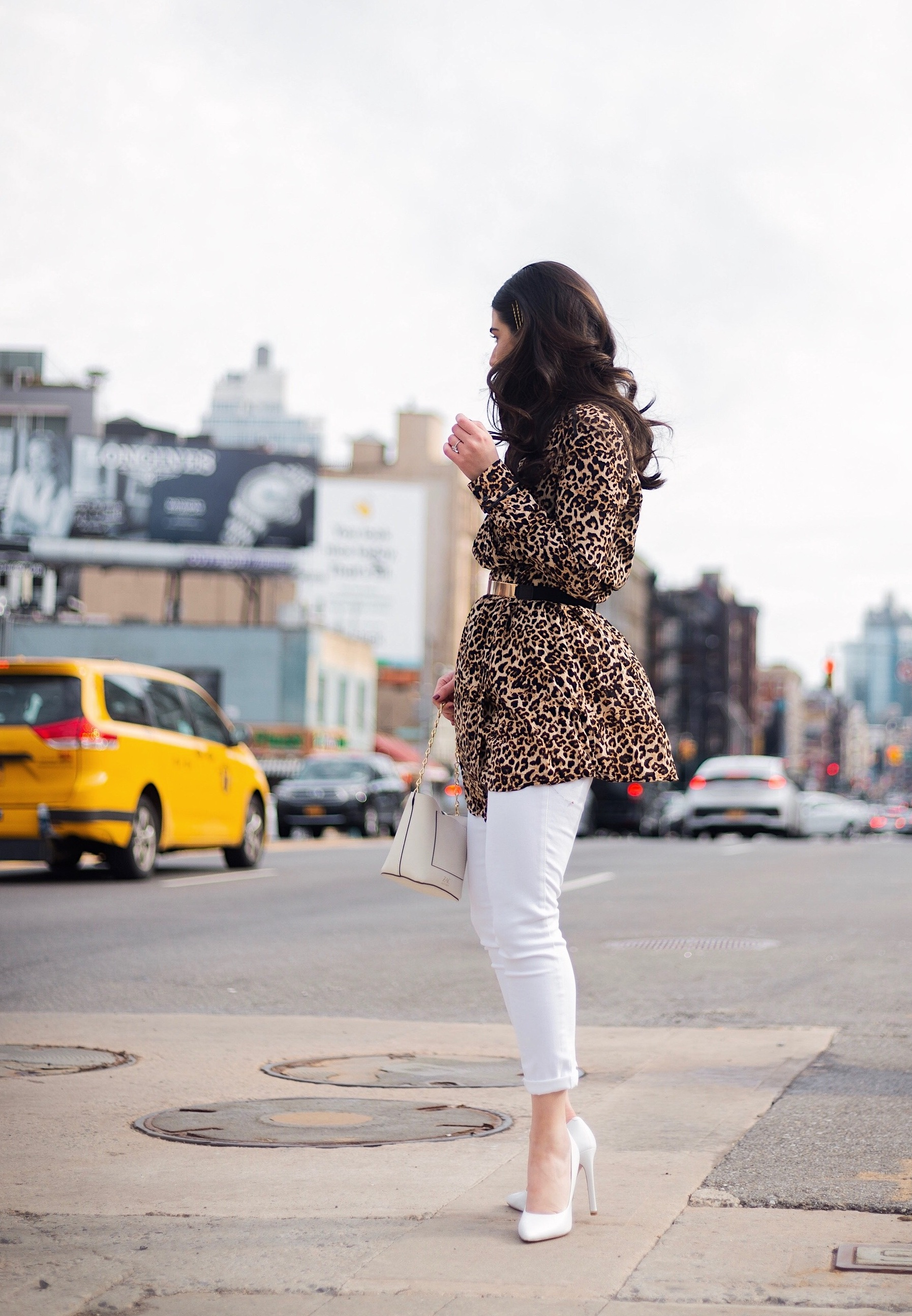 Dressing Up My Democracy Denim Esther Santer Fashion Blog NYC Street Style Blogger Outfit OOTD Trendy Shopping White Jeans Leopard Top Coat Inspo Bobby Pins Hair Trend White Heels Wear Chaya Ross Photography Gold Belt Cream Chain Small Bag Inspiration.jpg