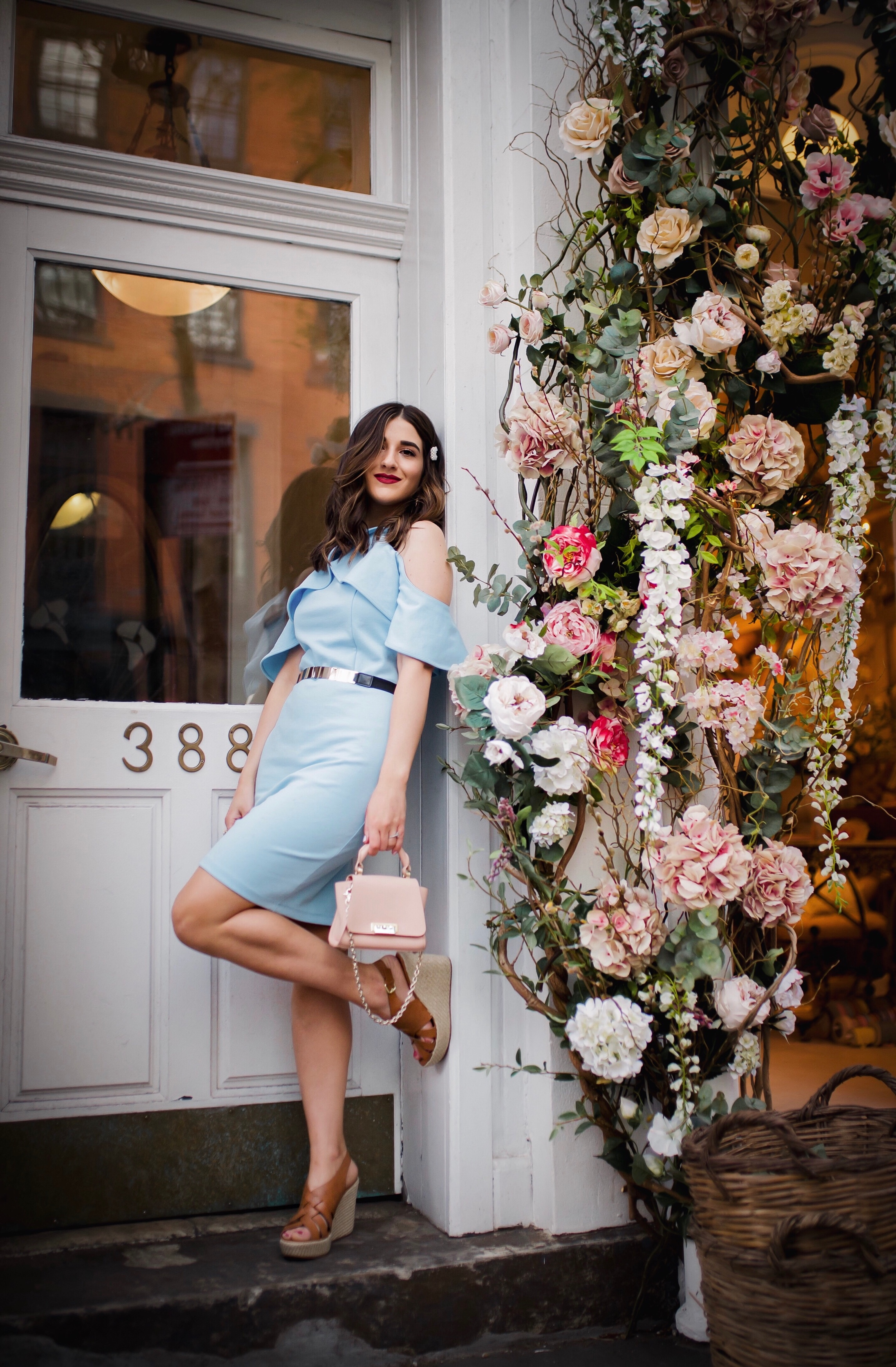 Styling XOXO For Spring Esther Santer Fashion Blog NYC Street Style Blogger Outfit OOTD Trendy Shopping Baby Blue Cold Shoulder Dress Espadrille Wedges Tan Girl Women Barette Pearl Clip Flowers Pretty Beautiful Pink Bag Shoes Belt Shopping Accessories.jpg