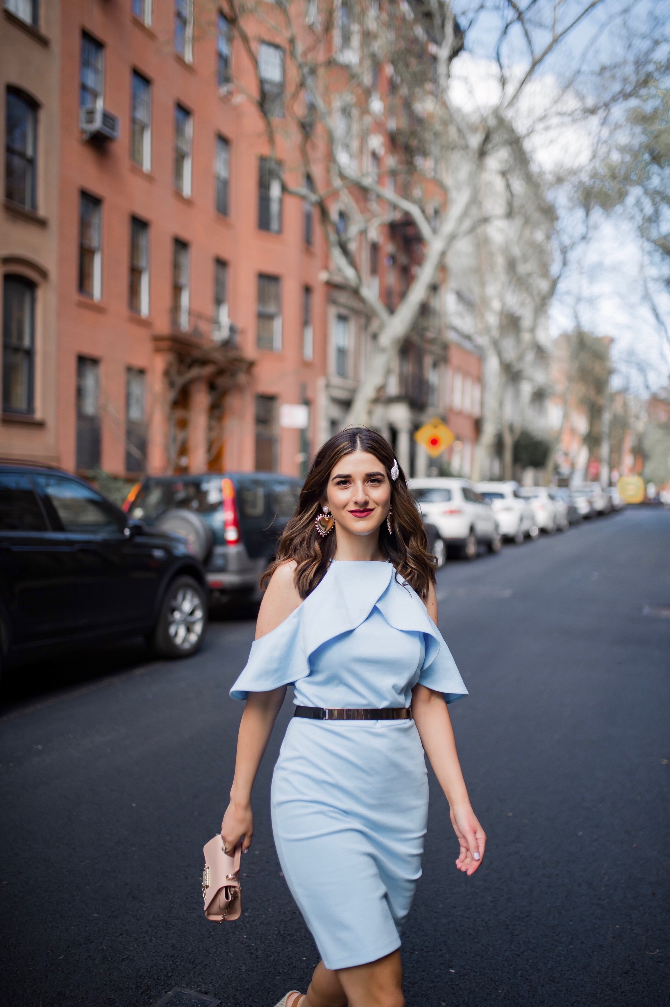 Styling XOXO For Spring Esther Santer Fashion Blog NYC Street Style Blogger Outfit OOTD Trendy Shopping Baby Blue Cold Shoulder Dress Espadrille Wedges Tan Girl Women Barette Pearl Clip Flowers Pretty Beautiful Pink Bag Belt Shoes Shopping Accessories.jpg