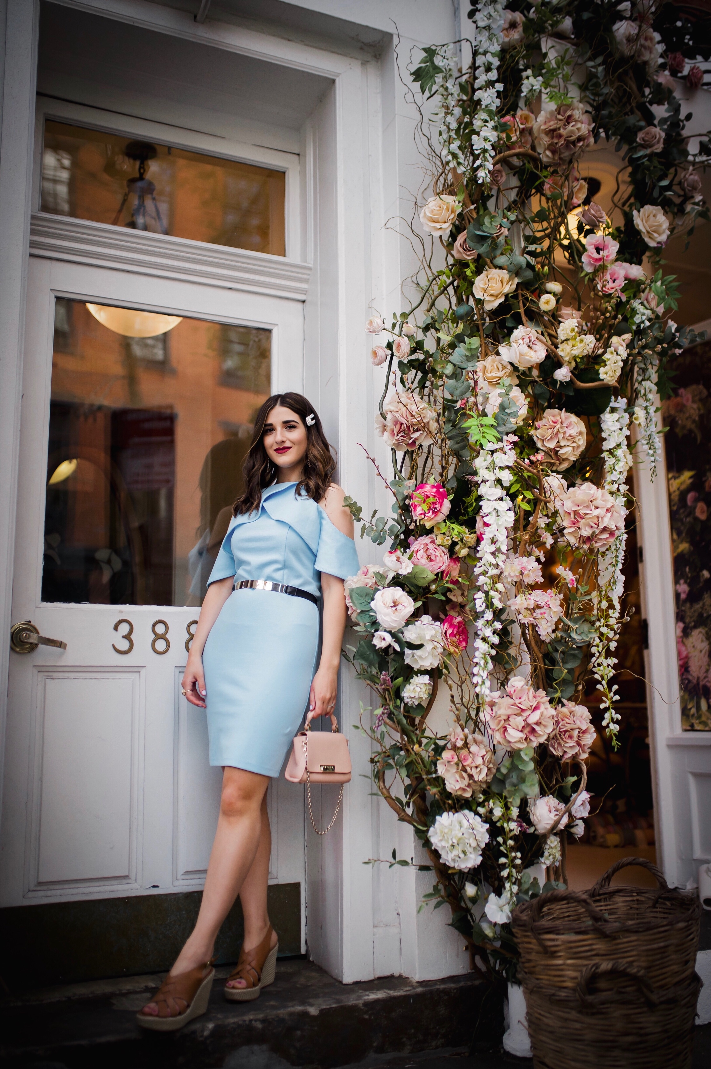 Styling XOXO For Spring Esther Santer Fashion Blog NYC Street Style Blogger Outfit OOTD Trendy Shopping Baby Blue Cold Shoulder Dress Espadrille Wedges Tan Girl Women Barette Pearl Clip Flowers Pretty Beautiful Pink Bag Shoes Shopping Belt Accessories.JPG
