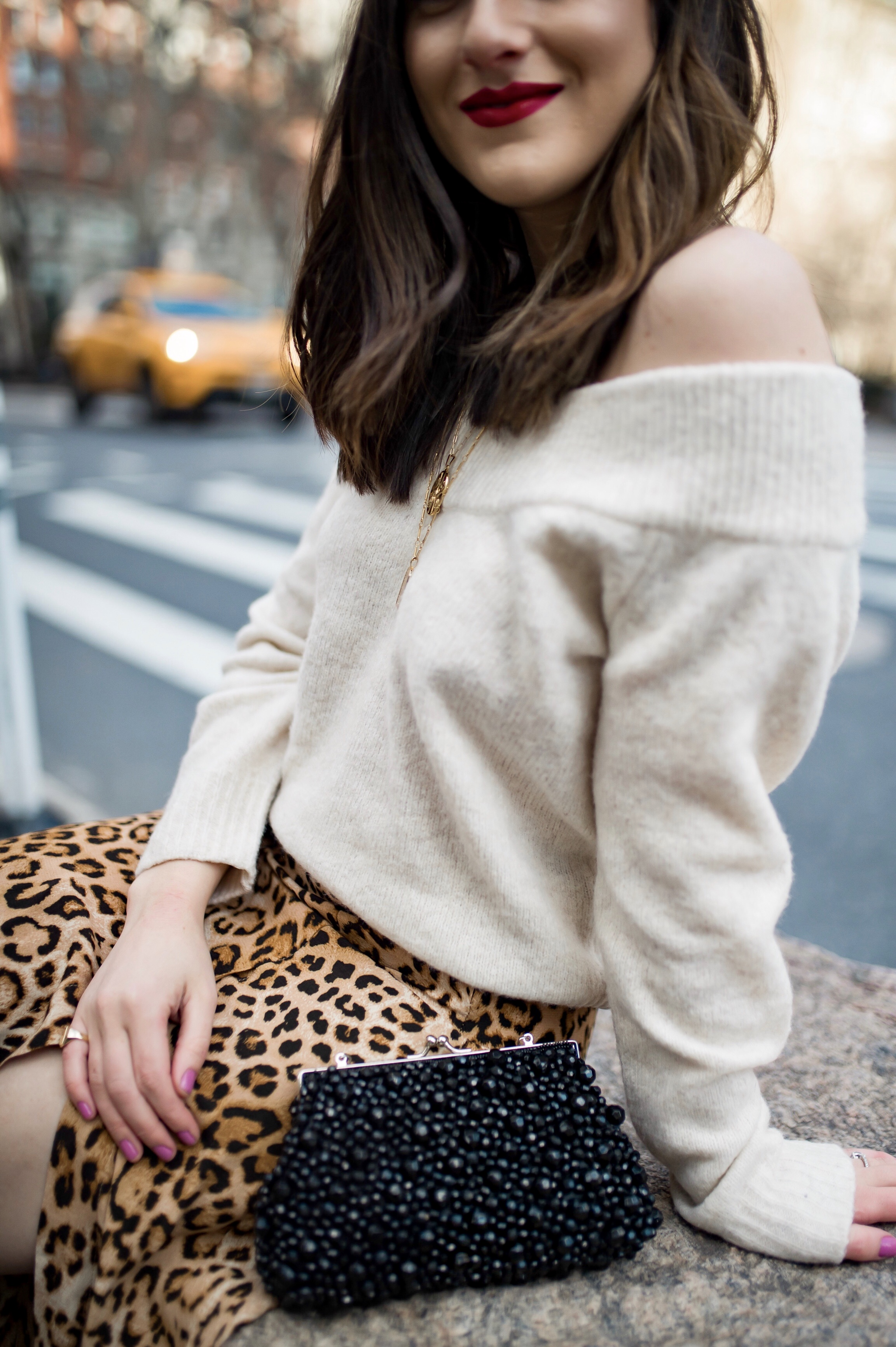 The Instagram Likes Debate Leopard Midi Skirt Beige Sweater Esther Santer Fashion Blog NYC Street Style Blogger Outfit OOTD Trendy Shopping Girl What Wear H&M Zara Pearl Barrettes Hair Clips Accessories Beaded Clutch Spring Necklaces Bag Sandals Mules.jpg