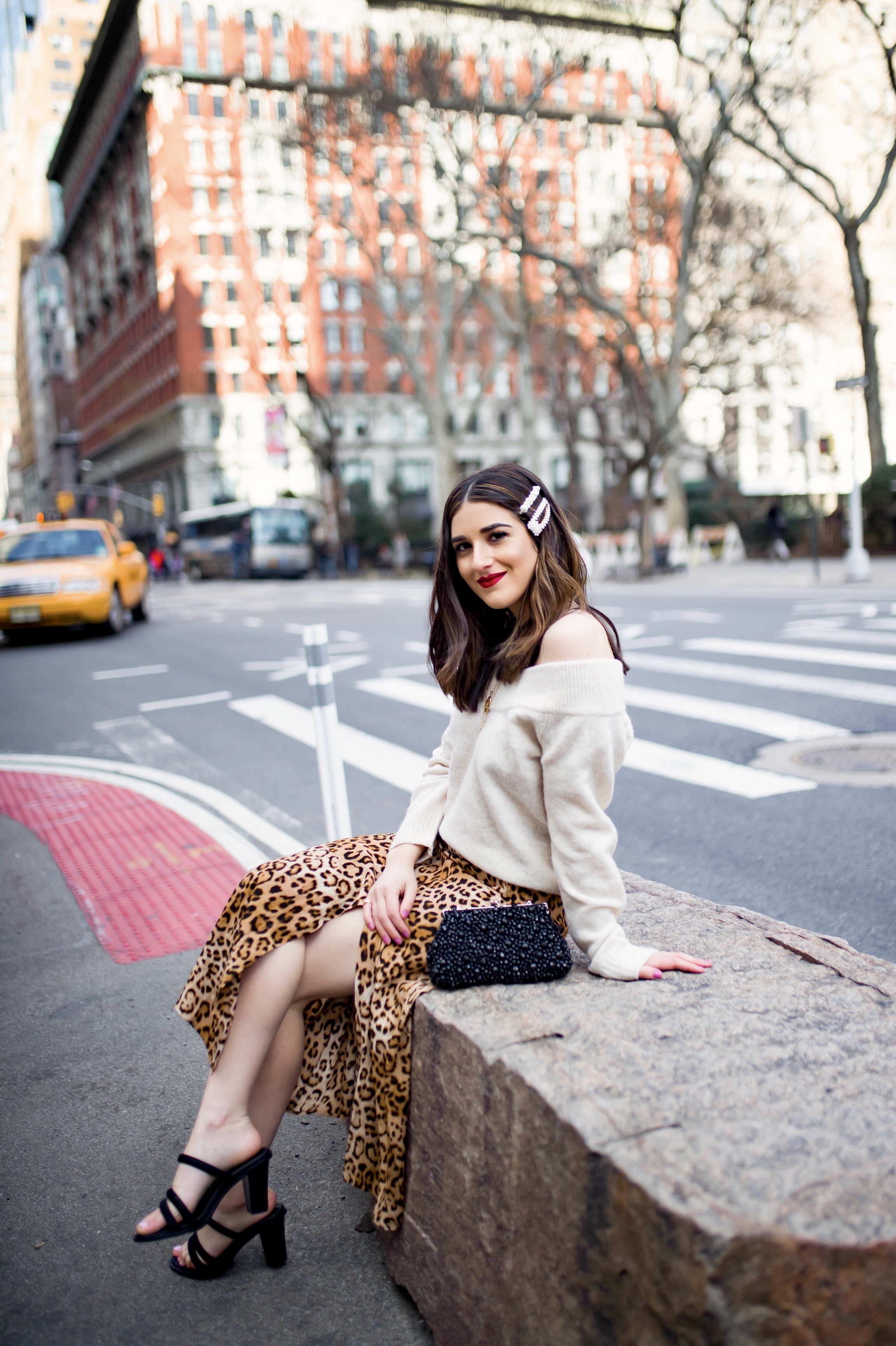 The Instagram Likes Debate Leopard Midi Skirt Beige Sweater Esther Santer Fashion Blog NYC Street Style Blogger Outfit OOTD Trendy Shopping Girl What How To Wear Beige Off The Shoulder Sweater H&M Zara Pearl Barrettes Hair Clips Accessories Sandals.jpg