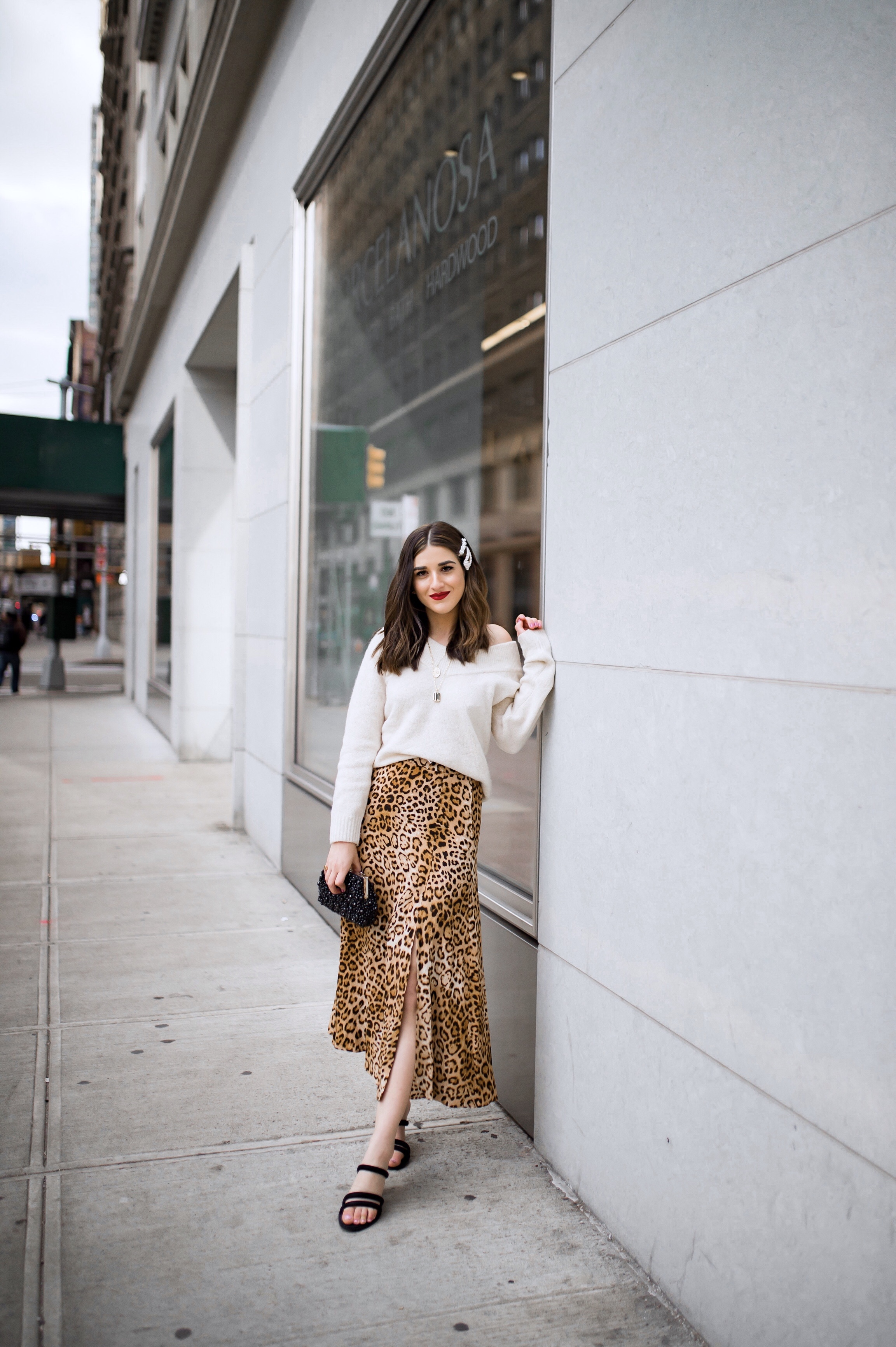 The Instagram Likes Debate Leopard Midi Skirt Beige Sweater Esther Santer Fashion Blog NYC Street Style Blogger Outfit OOTD Trendy Shopping Girl What Wear H&M Zara Pearl Barrettes Hair Clips Accessories Mules Beaded Clutch Spring Necklaces Bag Sandals.jpg