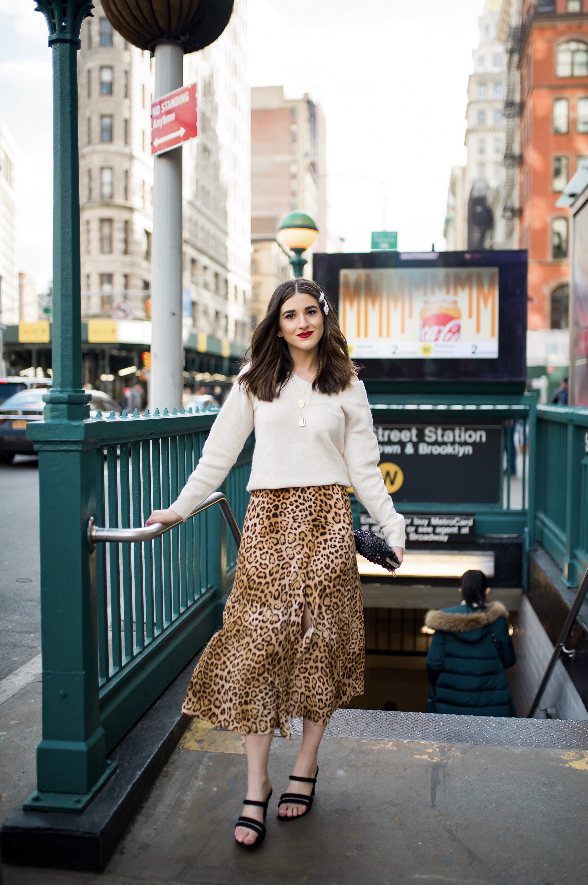 The Instagram Likes Debate Leopard Midi Skirt Beige Sweater Esther Santer Fashion Blog NYC Street Style Blogger Outfit OOTD Trendy Shopping Girl What Wear H&M Zara Pearl Barrettes Hair Clips Accessories Mules Sandals Beaded Clutch Spring Necklaces Bag.jpg