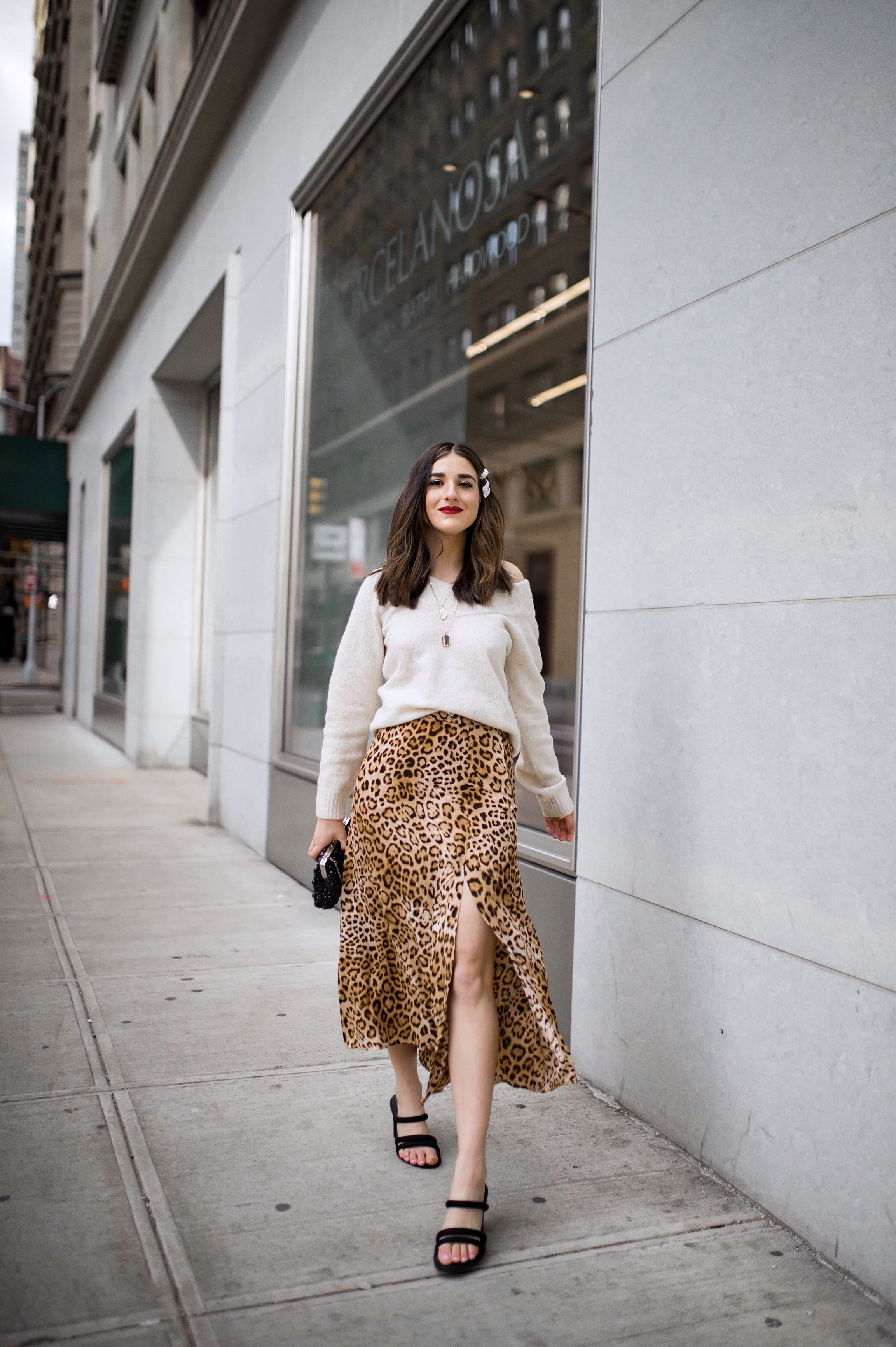 The Instagram Likes Debate Leopard Midi Skirt Beige Sweater Esther Santer Fashion Blog NYC Street Style Blogger Outfit OOTD Trendy Shopping Girl What Wear H&M Zara Pearl Barrettes Hair Clips Accessories Sandals Gold Layered Necklaces Beaded Clutch Bag.jpg