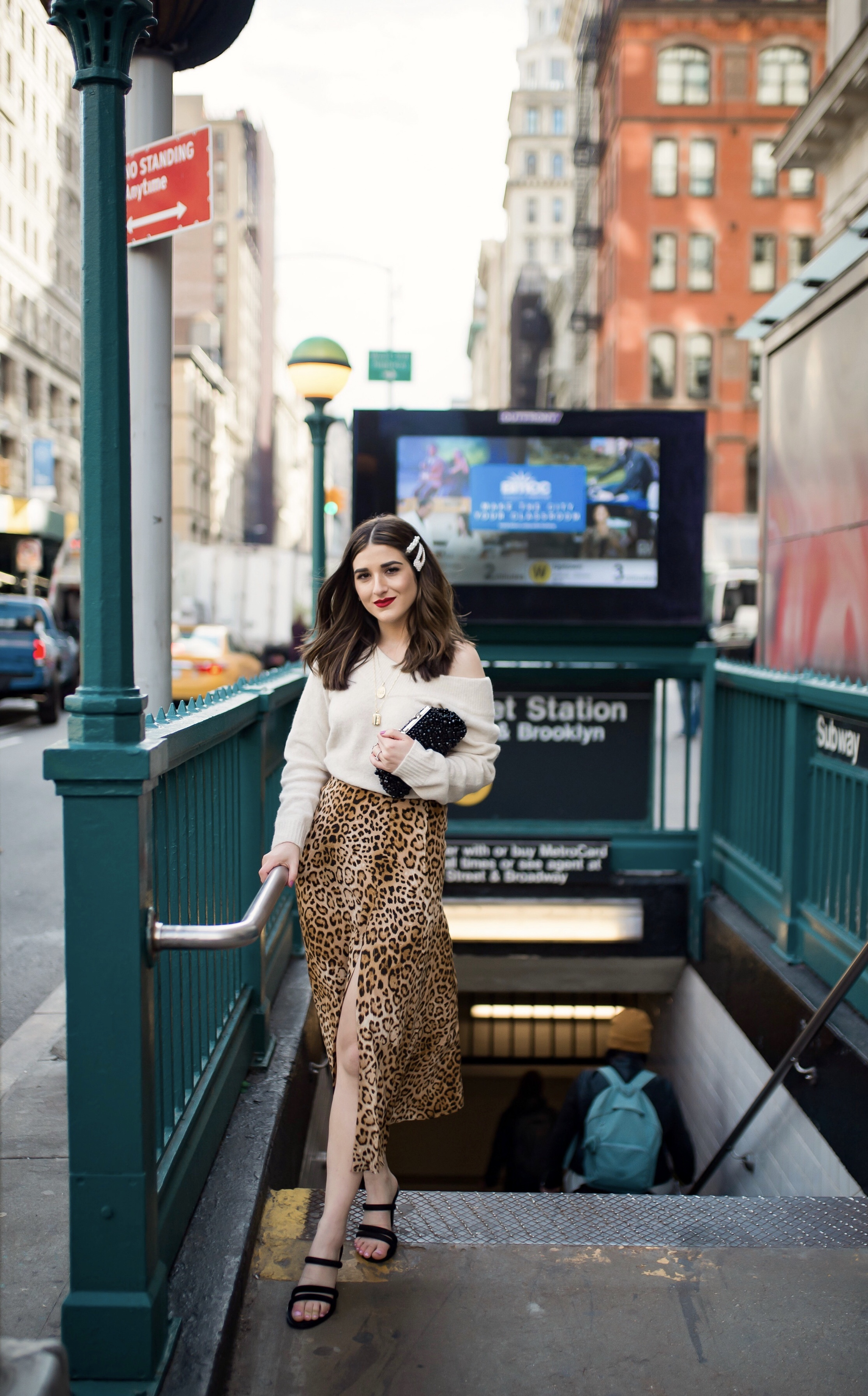 The Instagram Likes Debate Leopard Midi Skirt Beige Sweater Esther Santer Fashion Blog NYC Street Style Blogger Outfit OOTD Trendy Shopping Girl What Wear H&M Zara Pearl Barrettes Hair Clips Accessories Sandals Mules Necklaces Beaded Clutch Spring Bag.jpg