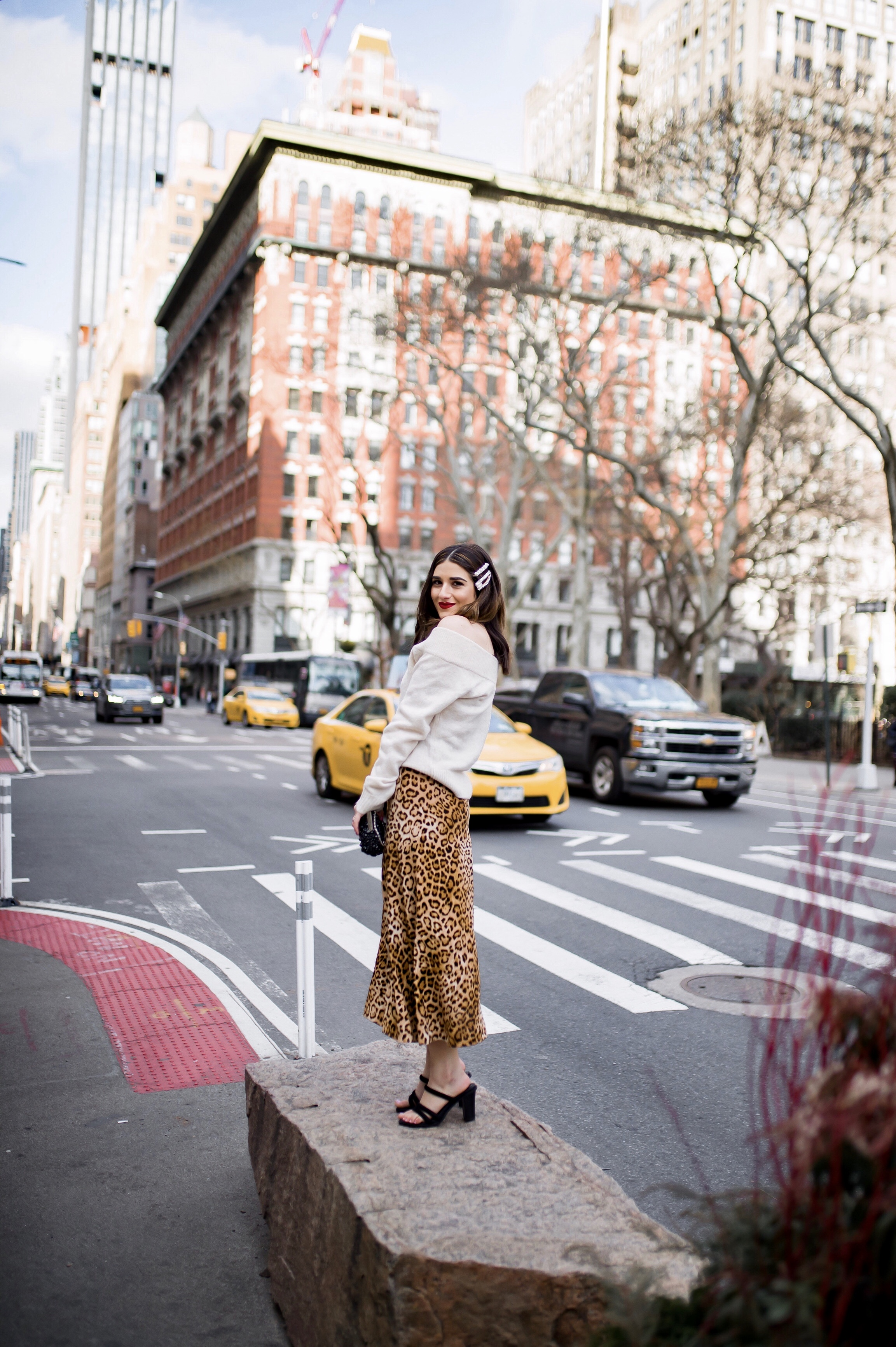 The Instagram Likes Debate Leopard Midi Skirt Beige Sweater Esther Santer Fashion Blog NYC Street Style Blogger Outfit OOTD Trendy Shopping Girl What Wear H&M Zara Pearl Barrettes Hair Clips Accessories Sandals Spring Mules Necklaces Beaded Clutch Bag.jpg