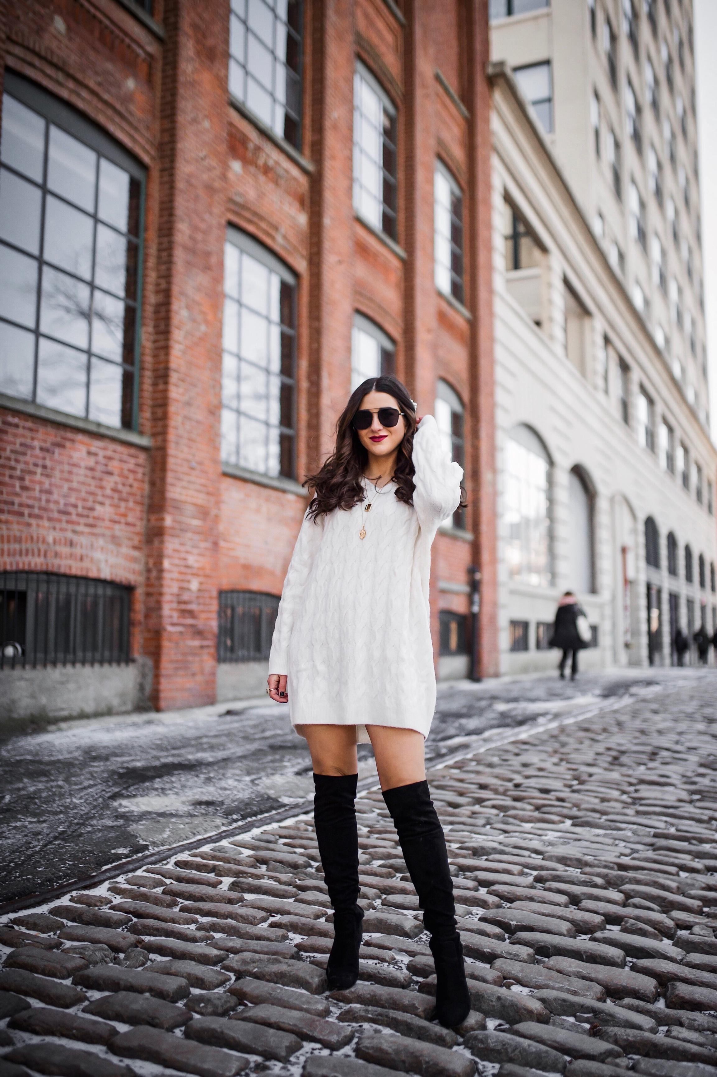 Are You Making This Business Mistake? Chunky White Sweater Dress Over The Knee Boots Esther Santer Fashion Blog NYC Street Style Blogger Outfit OOTD Trendy Shopping Girl What How Wear Industry Relationships Mindset Work Career Important Lesson  Boots.JPG