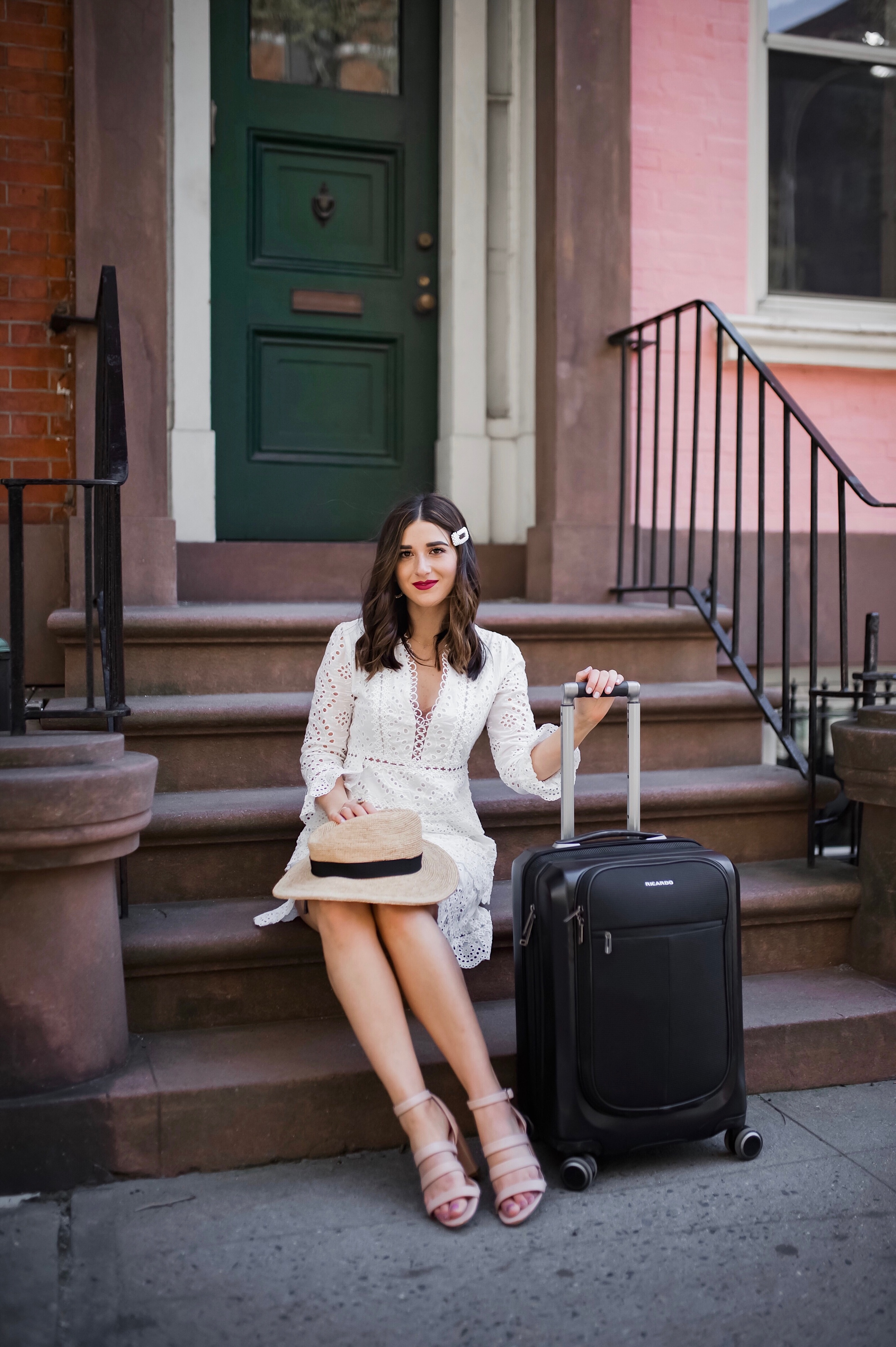How Ricardo Luggage Keeps Me Organized The Cupertino Collection Esther Santer Fashion Blog NYC Street Style Blogger Outfit OOTD Trendy Shopping Girl Travel Honeymoon Trip Vacation Europe Pack Packing USB Black Front Pocket Hard Case Carry On Suitcase.JPG