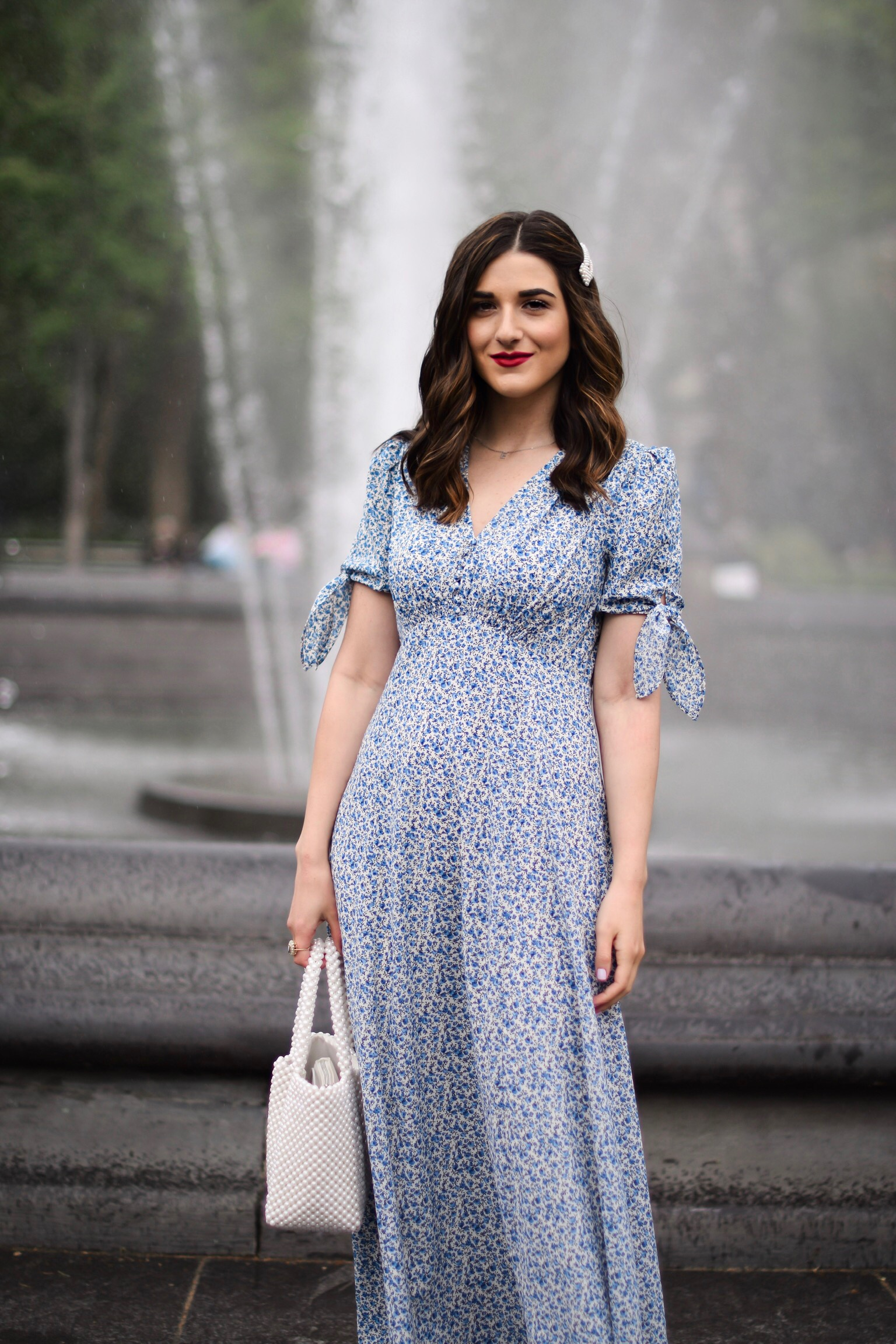 My Favorite Morning Rituals Esther Santer Fashion Blog NYC Street Style Blogger Outfit OOTD Trendy Shopping Girl What How To Wear Stitch Fix Gal Meets Glam Blue Floral Maxi Dress Hair Accesories Pearl Clip Hairsyle White Shoes Sandals Vince Camuto Bag.JPG