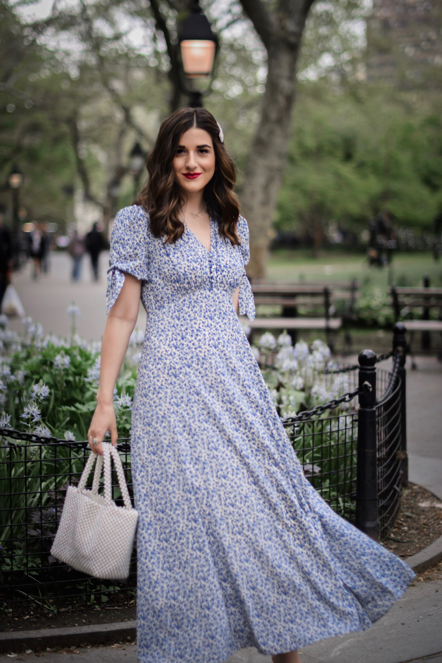 My Favorite Morning Rituals Esther Santer Fashion Blog NYC Street Style Blogger Outfit OOTD Trendy Shopping Girl What How To Wear Stitch Fix Gal Meets Glam Blue Floral Maxi Dress Hair Accesories Pearl Clip Hairsyle White Shoes Vince Camuto Sandals Bag.JPG