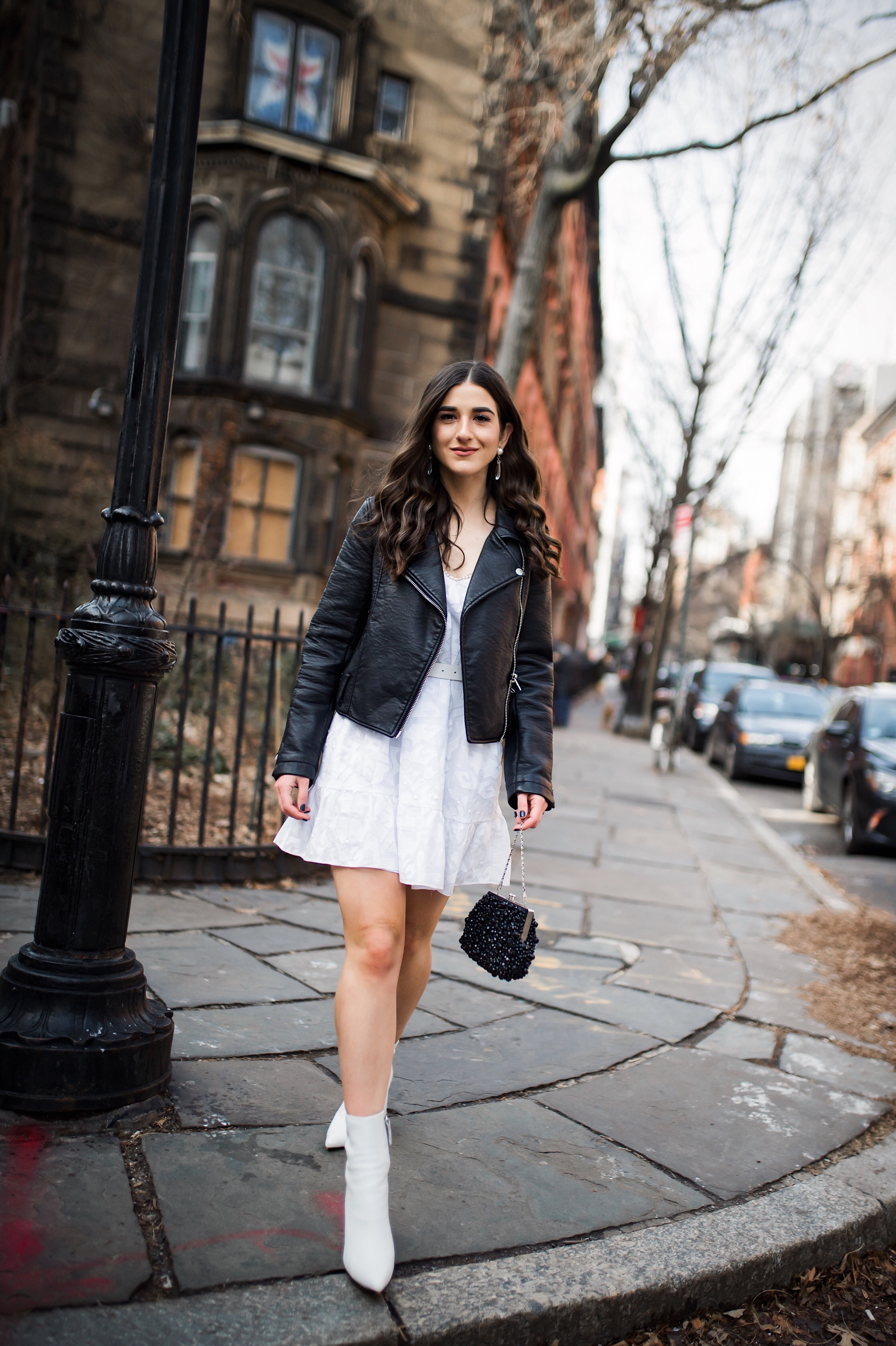 5 Things I Wish Brands Knew White Dress Leather Jacket Esther Santer Fashion Blog NYC Street Style Blogger Outfit OOTD Trendy Shopping Girl What How To Wear Urban Outfitters ASOS Belt Booties Black Beaded Clutch Long Hair Photoshoot  Stuyvesant  Shop.JPG