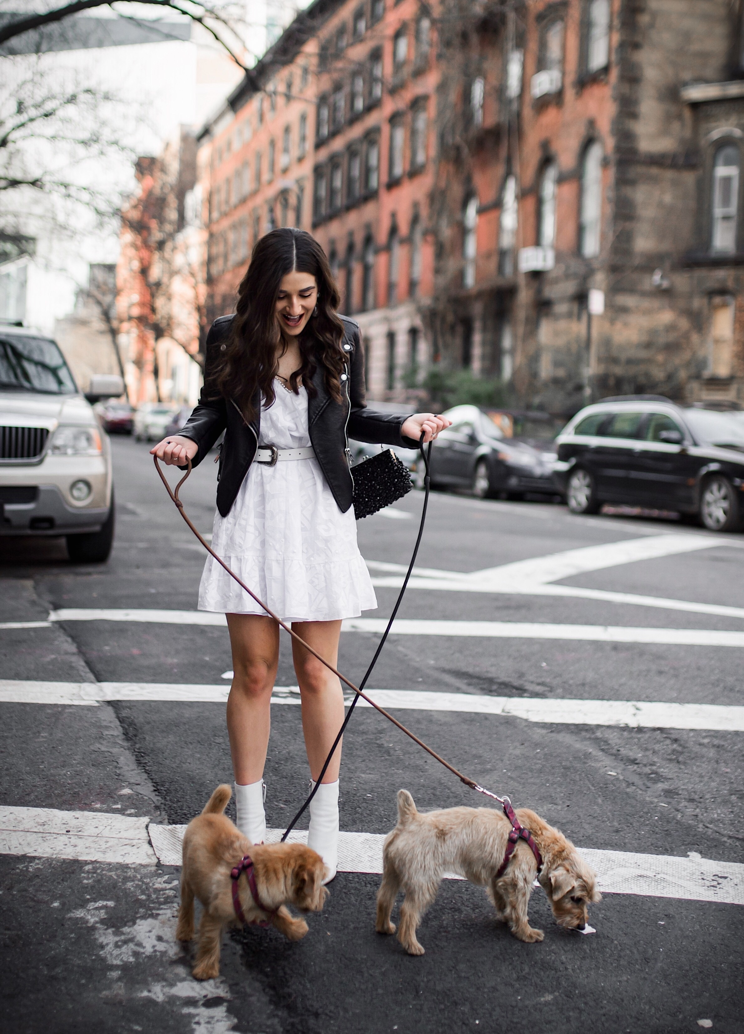 5 Things I Wish Brands Knew White Dress Leather Jacket Esther Santer Fashion Blog NYC Street Style Blogger Outfit OOTD Trendy Shopping Girl What How To Wear Urban Outfitters ASOS Belt Booties Black Beaded Clutch Long Hair Photoshoot Stuyvesant Dogs.JPG