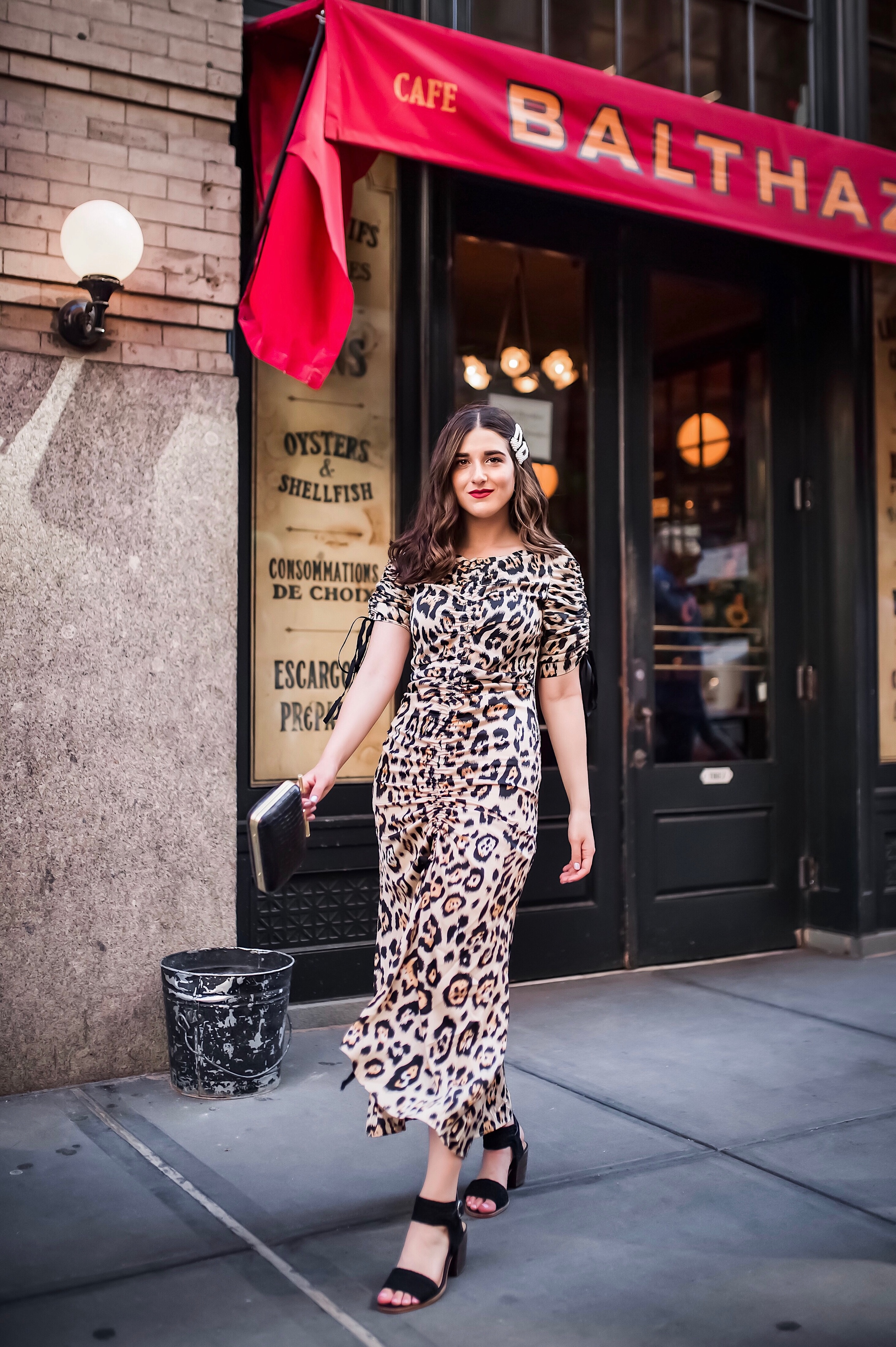 July 3 2019 Leopard Dress Pearl Hair Clips Esther Santer Fashion Blog NYC Street Style Blogger Outfit OOTD Trendy Shopping Girl What How To Wear Cheetah Black Braided Sandals Vince Camuto Balthazar Restaurant Bag New York City Soho Photoshoot Clothing.jpg