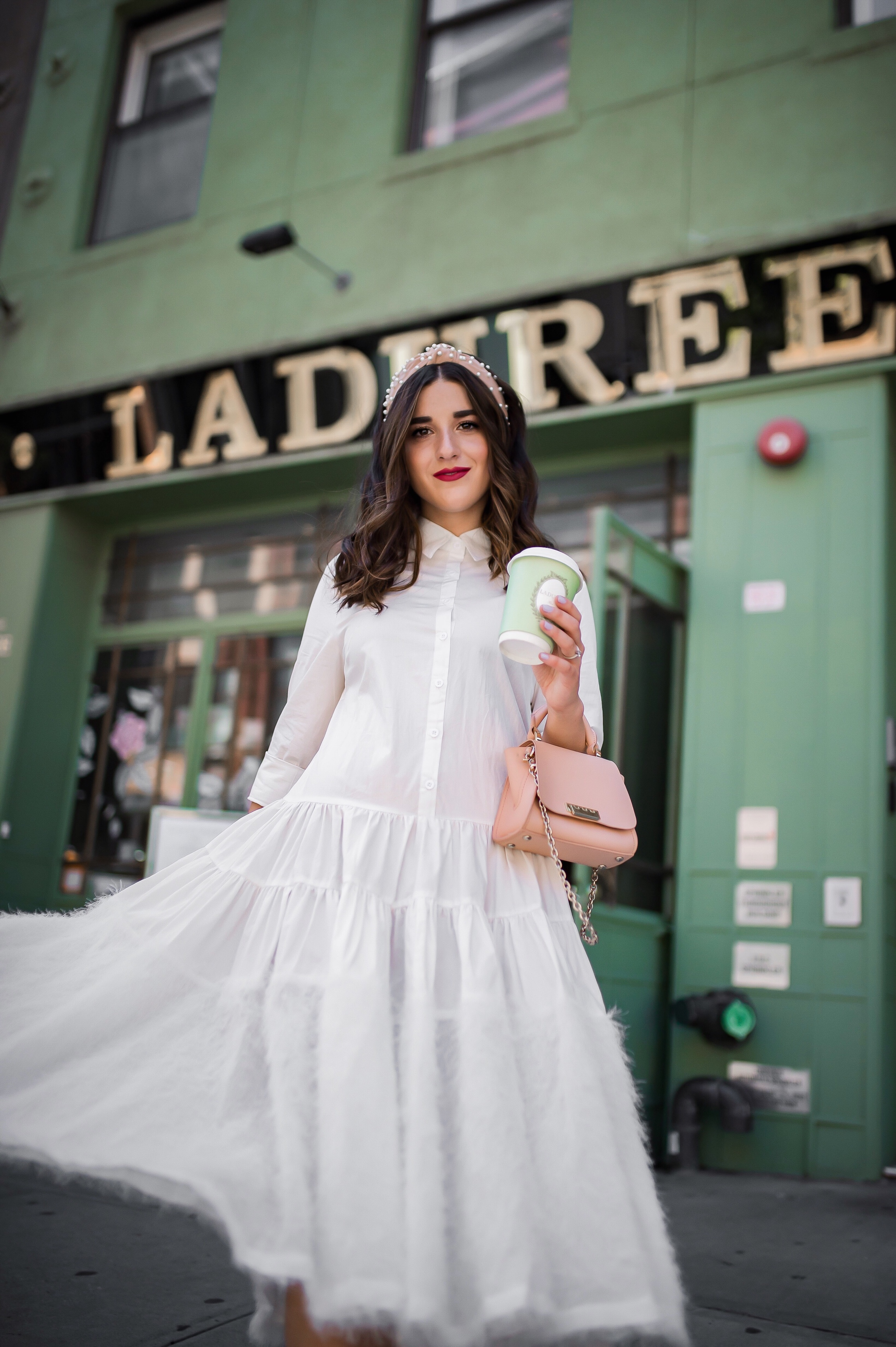 Debunking 8 Common Misconceptions About Fashion Bloggers White Midi Dress Pink Accessories Esther Santer Fashion Blog NYC Street Style Blogger Outfit OOTD Trendy Shopping Girl Headband How To Wear Pink Zac Posen Bag La Duree Photoshoot Jeweled Sandals.JPG