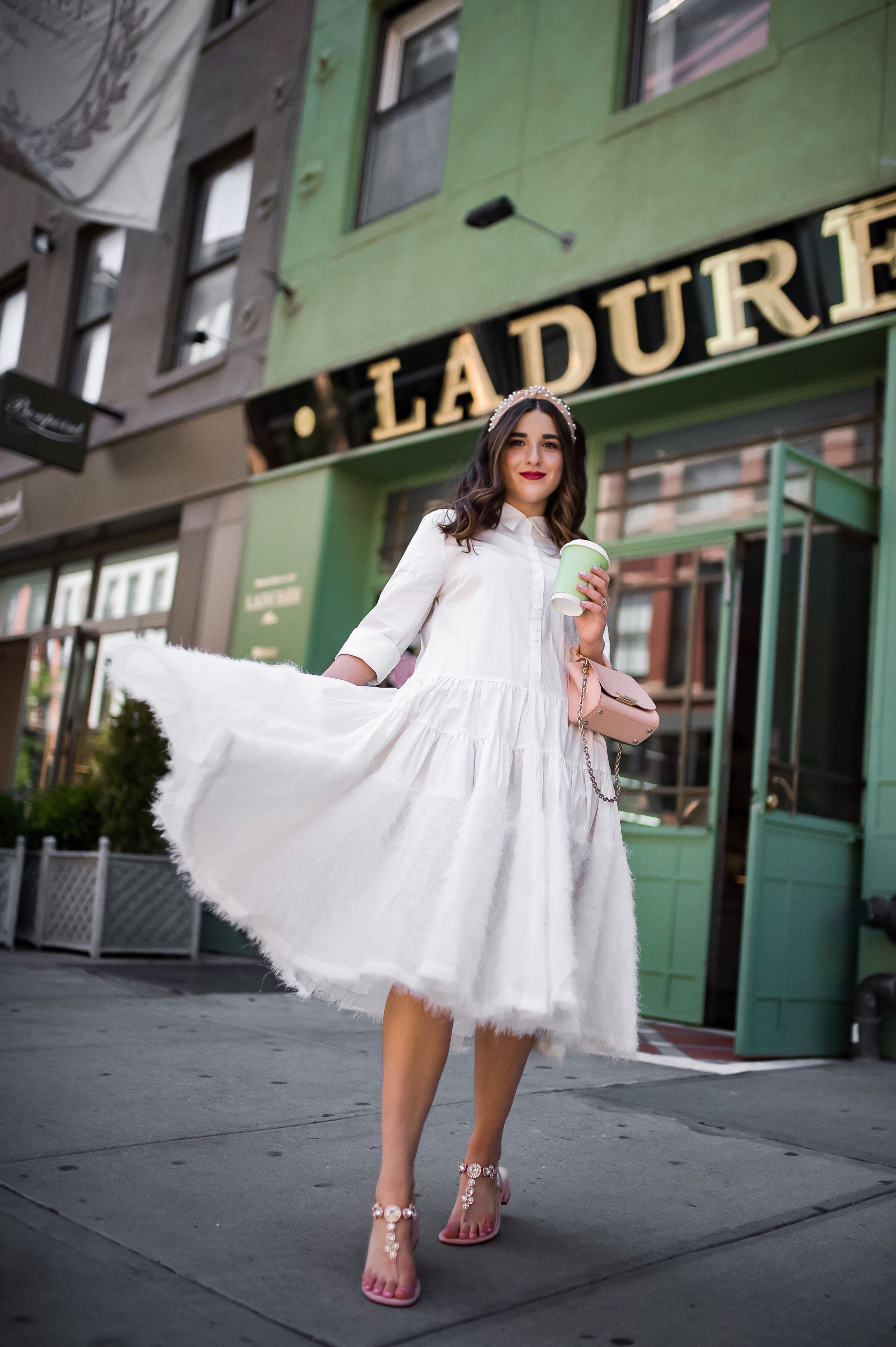Debunking 8 Common Misconceptions About Fashion Bloggers White Midi Dress Pink Accessories Esther Santer Fashion Blog NYC Street Style Blogger Outfit OOTD Trendy Shopping Girl Headband How To Wear Pink Zac Posen Bag Jeweled Sandals La Duree Photoshoot.JPG
