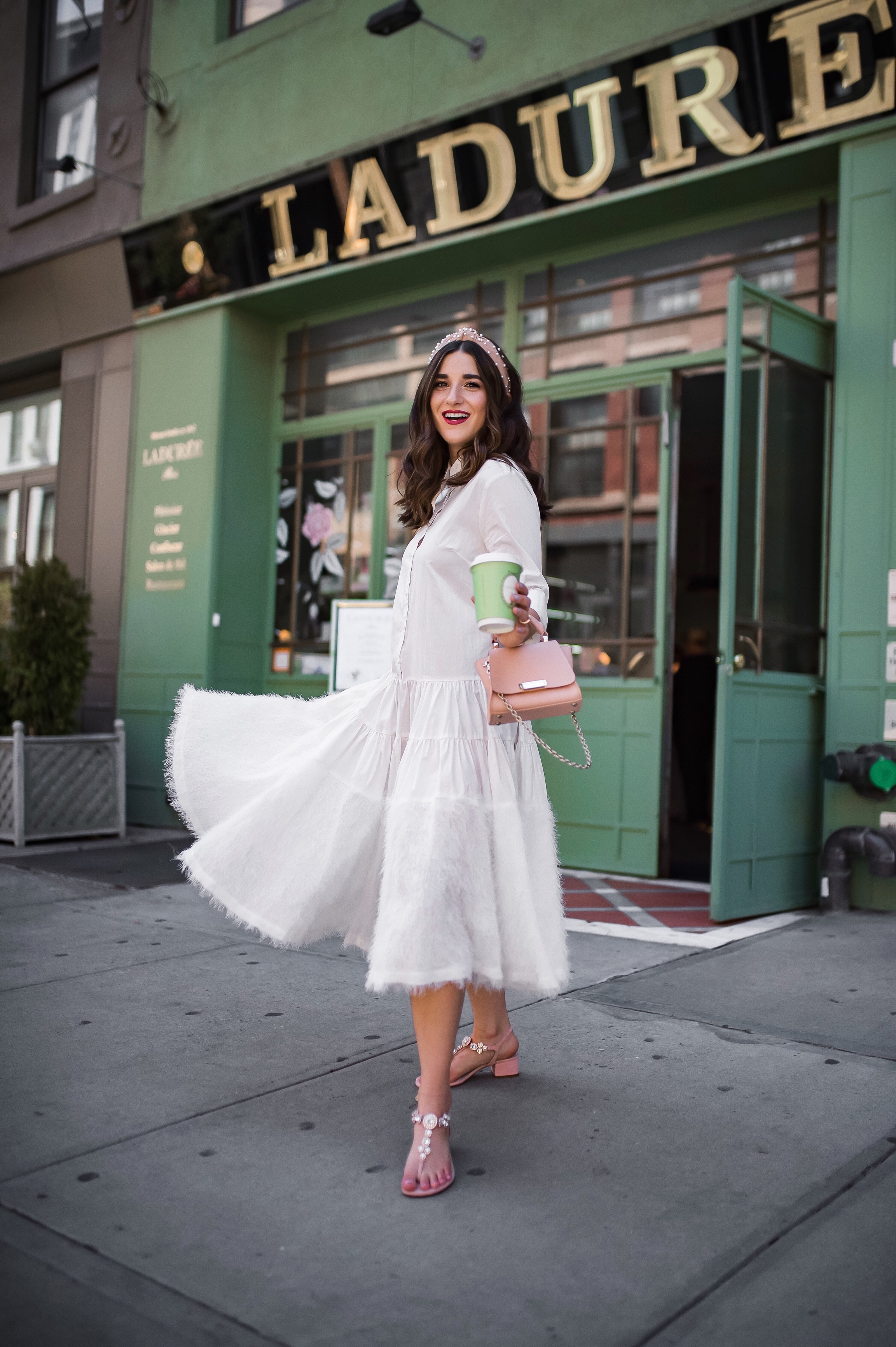 Debunking 8 Common Misconceptions About Fashion Bloggers White Midi Dress Pink Accessories Esther Santer Fashion Blog NYC Street Style Blogger Outfit OOTD Trendy Shopping Girl Headband How To Wear Pink Sandals Jeweled Zac Posen Bag Photoshoot La Duree.JPG
