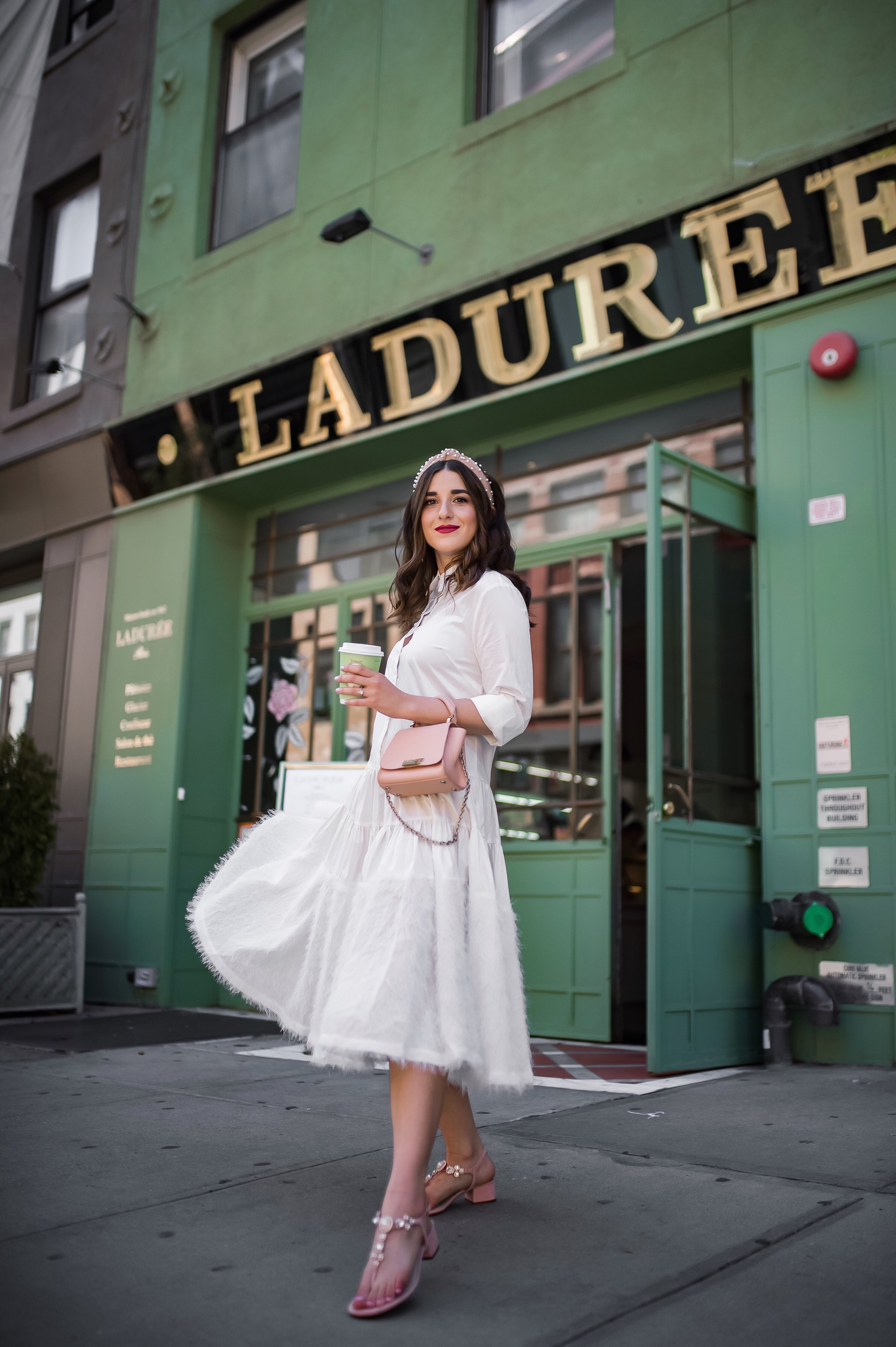 Debunking 8 Common Misconceptions About Fashion Bloggers White Midi Dress Pink Accessories Esther Santer Fashion Blog NYC Street Style Blogger Outfit OOTD Trendy Shopping Girl Headband How To Wear Pink Zac Posen Bag Sandals Jeweled Photoshoot La Duree.JPG