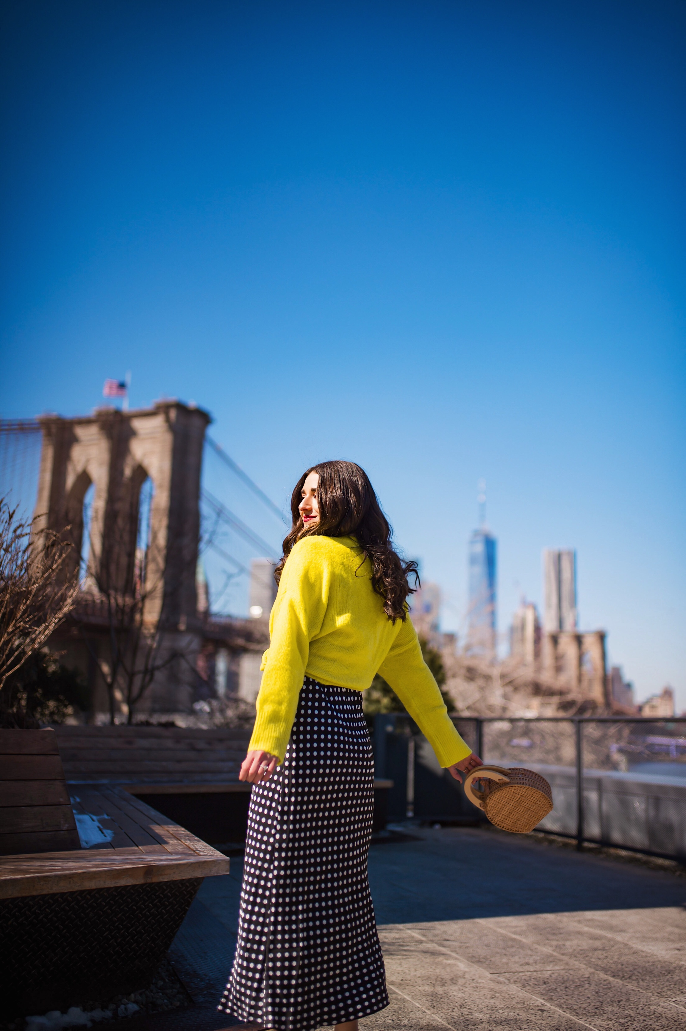 How I Wound Up With Boring White Dishes Navy Polka Dot Dress Neon Yellow Knotted Sweater Esther Santer Fashion Blog NYC Street Style Blogger Outfit OOTD Trendy Shopping Girl What How To Wear Dumbo Brooklyn Bridge Photoshoot Laurel Creative White Heels.JPG