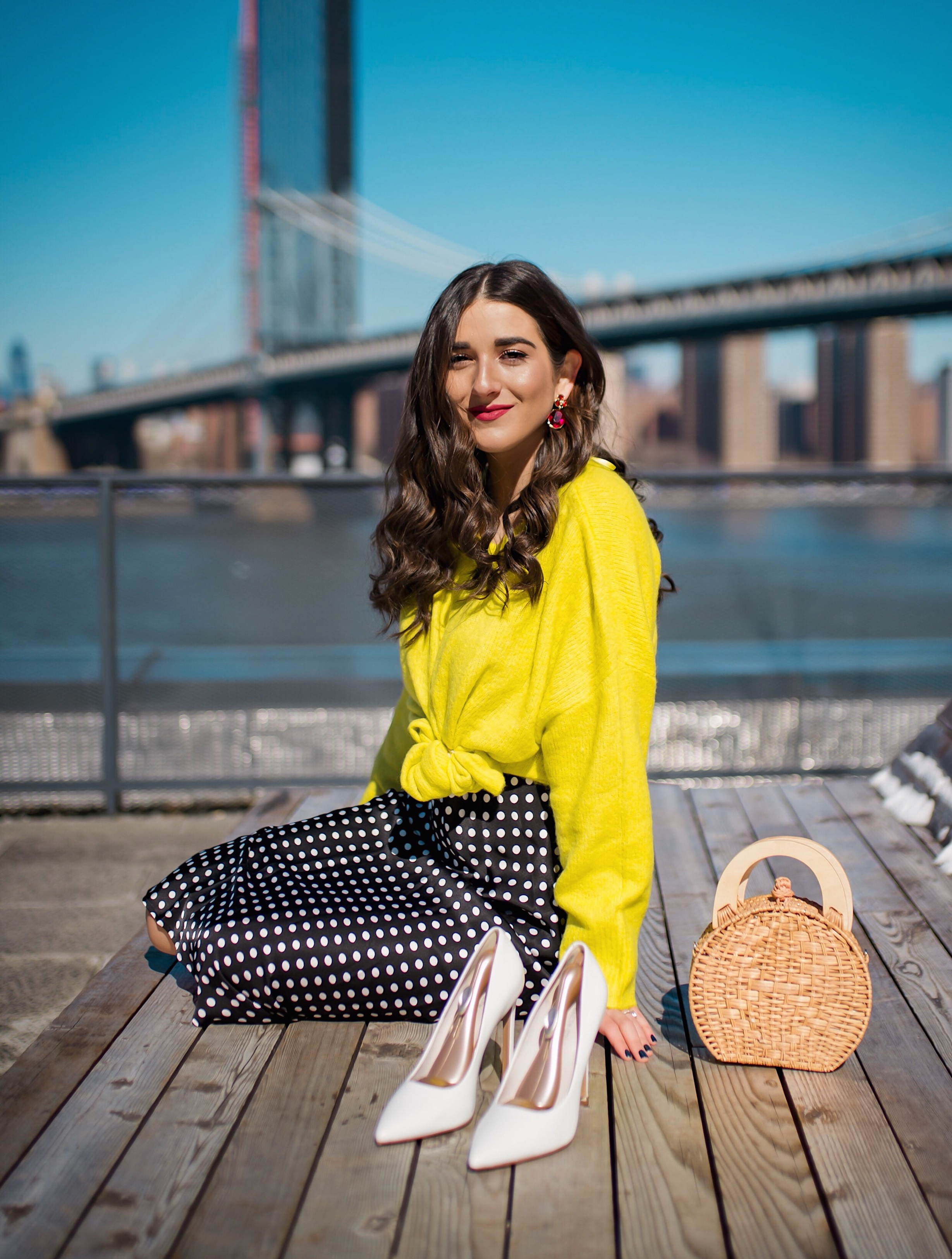 How I Wound Up With Boring White Dishes Navy Polka Dot Dress Neon Yellow Knotted Sweater Esther Santer Fashion Blog NYC Street Style Blogger Outfit OOTD Trendy Shopping Girl What How To Wear White Heels Brooklyn Bridge Laurel Creative Photoshoot Dumbo.JPG
