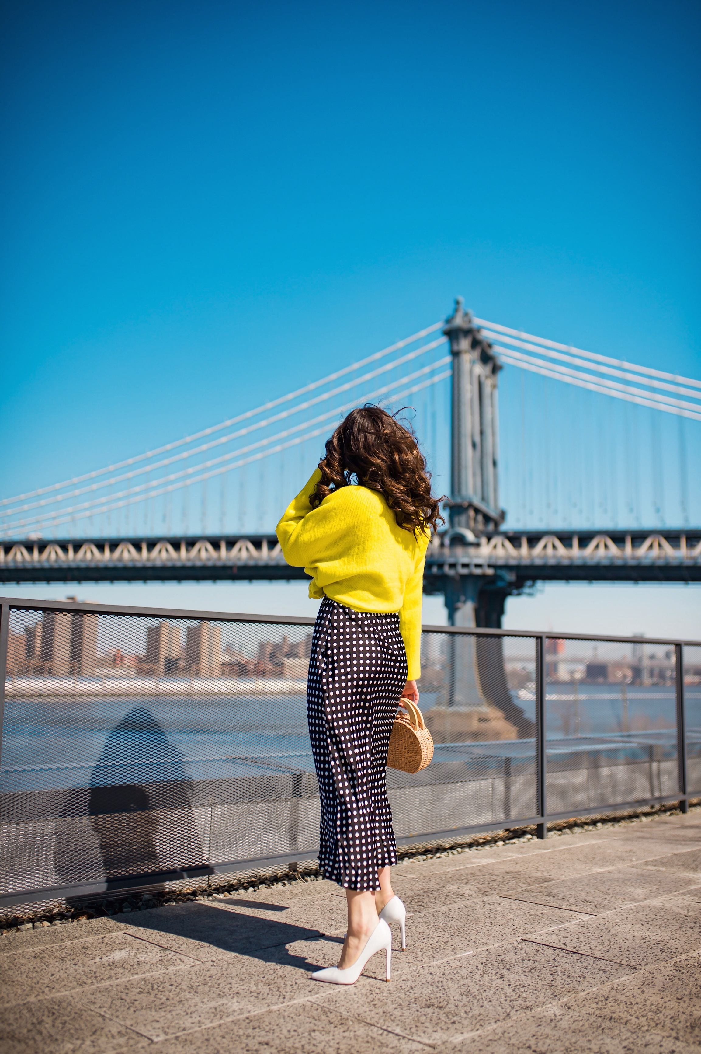 How I Wound Up With Boring White Dishes Navy Polka Dot Dress Neon Yellow Knotted Sweater Esther Santer Fashion Blog NYC Street Style Blogger Outfit OOTD Trendy Shopping Girl What How To Wear White Heels Dumbo Brooklyn Bridge Photoshoot Laurel Creative.JPG