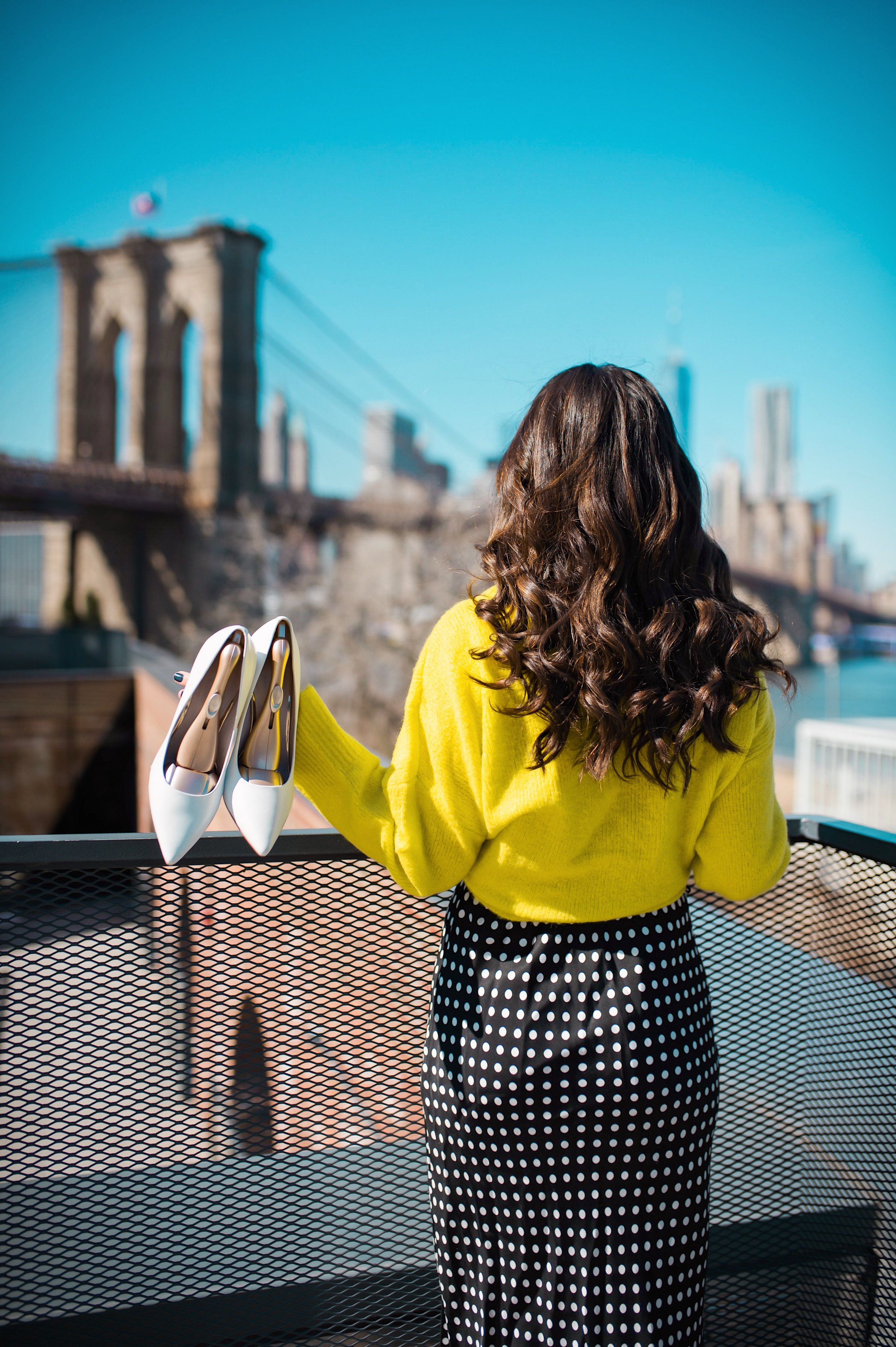 How I Wound Up With Boring White Dishes Navy Polka Dot Dress Neon Yellow Knotted Sweater Esther Santer Fashion Blog NYC Street Style Blogger Outfit OOTD Trendy Shopping Girl What How To Wear White Heels Photoshoot Laurel Creative Dumbo Brooklyn Bridge.JPG