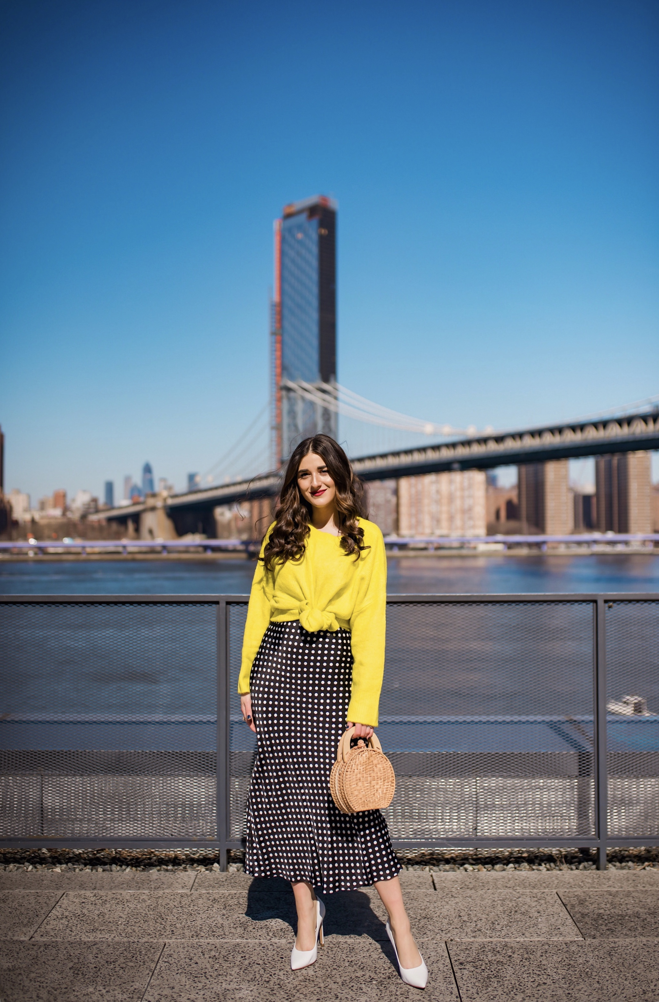 How I Wound Up With Boring White Dishes Navy Polka Dot Dress Neon Yellow Knotted Sweater Esther Santer Fashion Blog NYC Street Style Blogger Outfit OOTD Trendy Shopping Girl White Heels What How To Wear Dumbo Brooklyn Bridge Laurel Creative Photoshoot.JPG