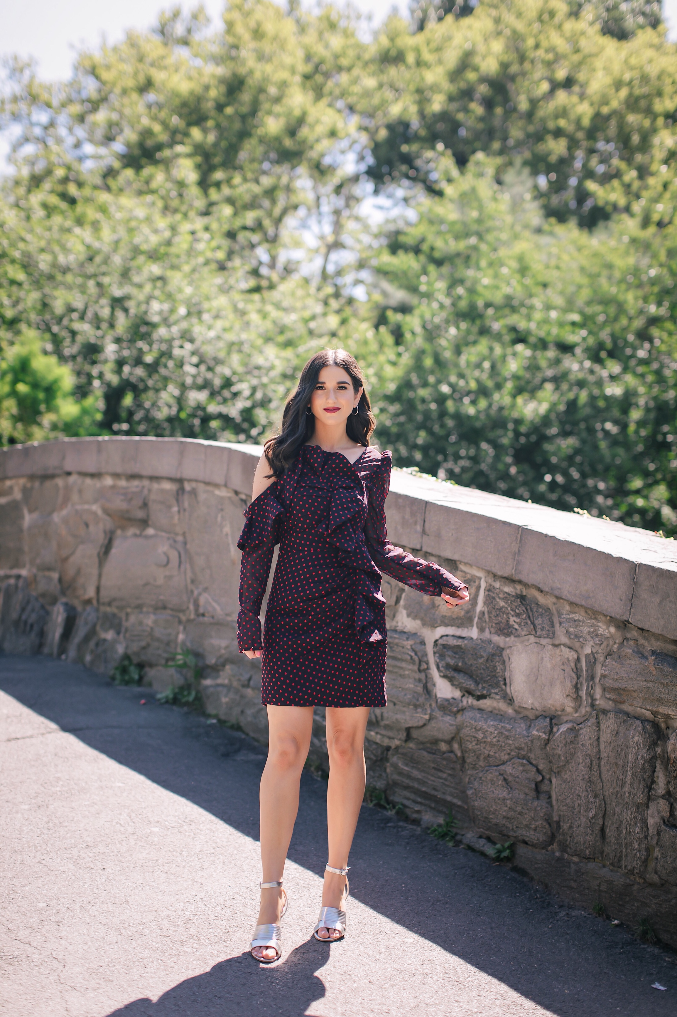 Aging Out Cold Shoulder Polka Dot Dress Silver Heels Esther Santer Fashion Blog NYC Street Style Blogger Outfit OOTD Trendy Shopping Girl What How To Wear Industry Diamond Jewelry Self Portait Central Park Photoshoot Gapstow Bridge Red Lip Summer Love.JPG