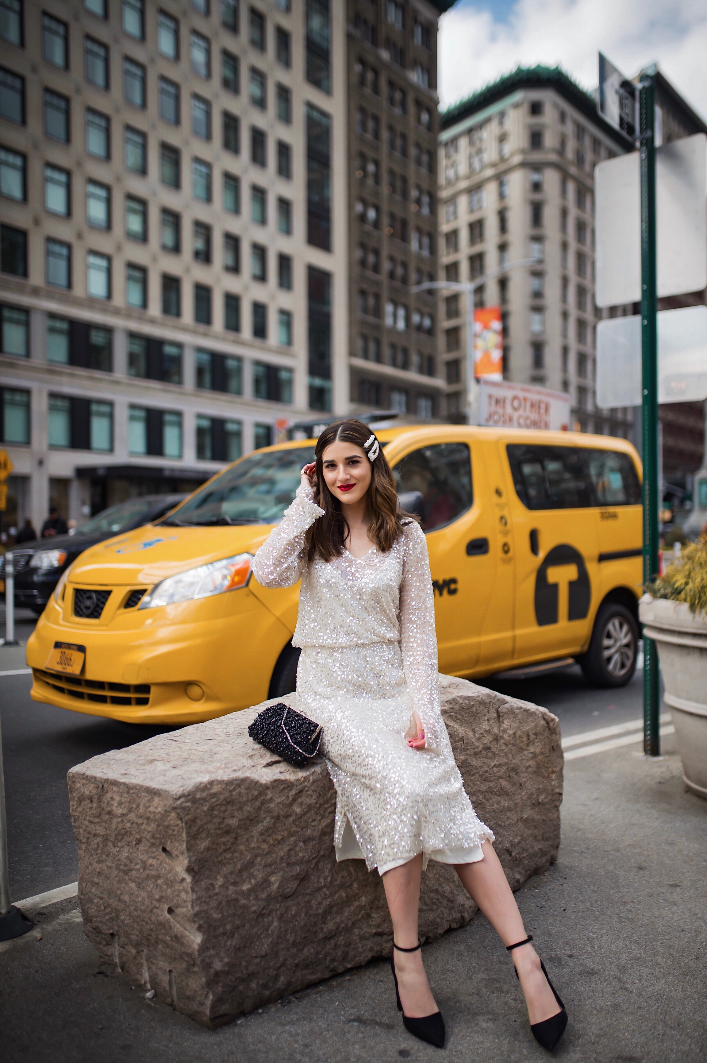 10 Ways To Be An Amazing Houseguest Sequined Midi Dress Black Heels Esther Santer Fashion Blog NYC Street Style Blogger Outfit OOTD Trendy Shopping Girl What How To Wear Beaded Clutch Pearl Hair Clips Zara Asos Taxi  Shot Photoshoot Inspo Bag Pretty.JPG