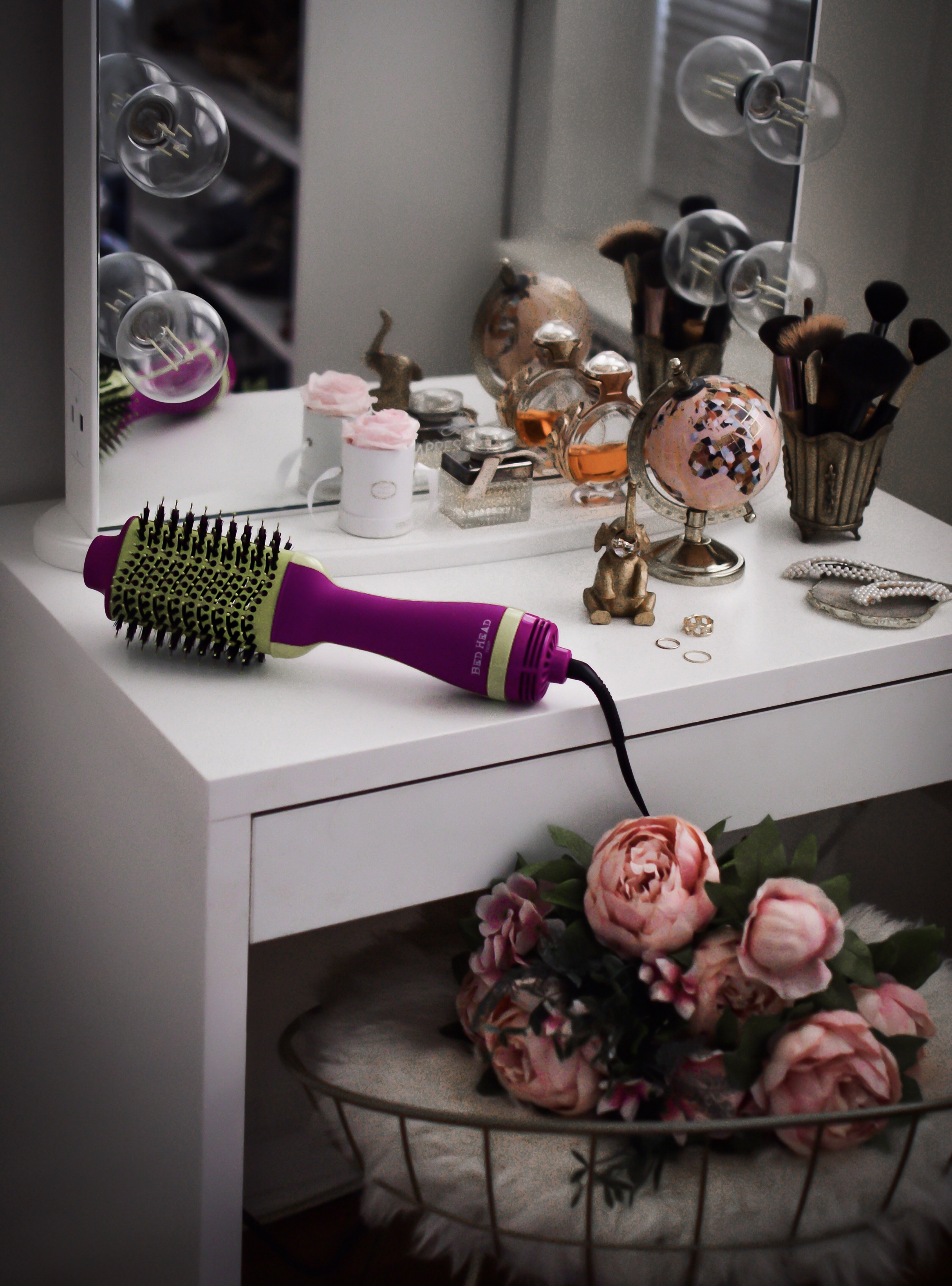 Best In Hair Tools Bed Head Blow Out Freak Dryer Esther Santer Fashion Blog NYC Street Style Blogger Outfit OOTD Trendy Shopping Girl What How To Wear Product Reviews Blowdryer Blowout Ulta Shopping Vanity Lights Colorful Purple  Green Rings Mirror .jpg