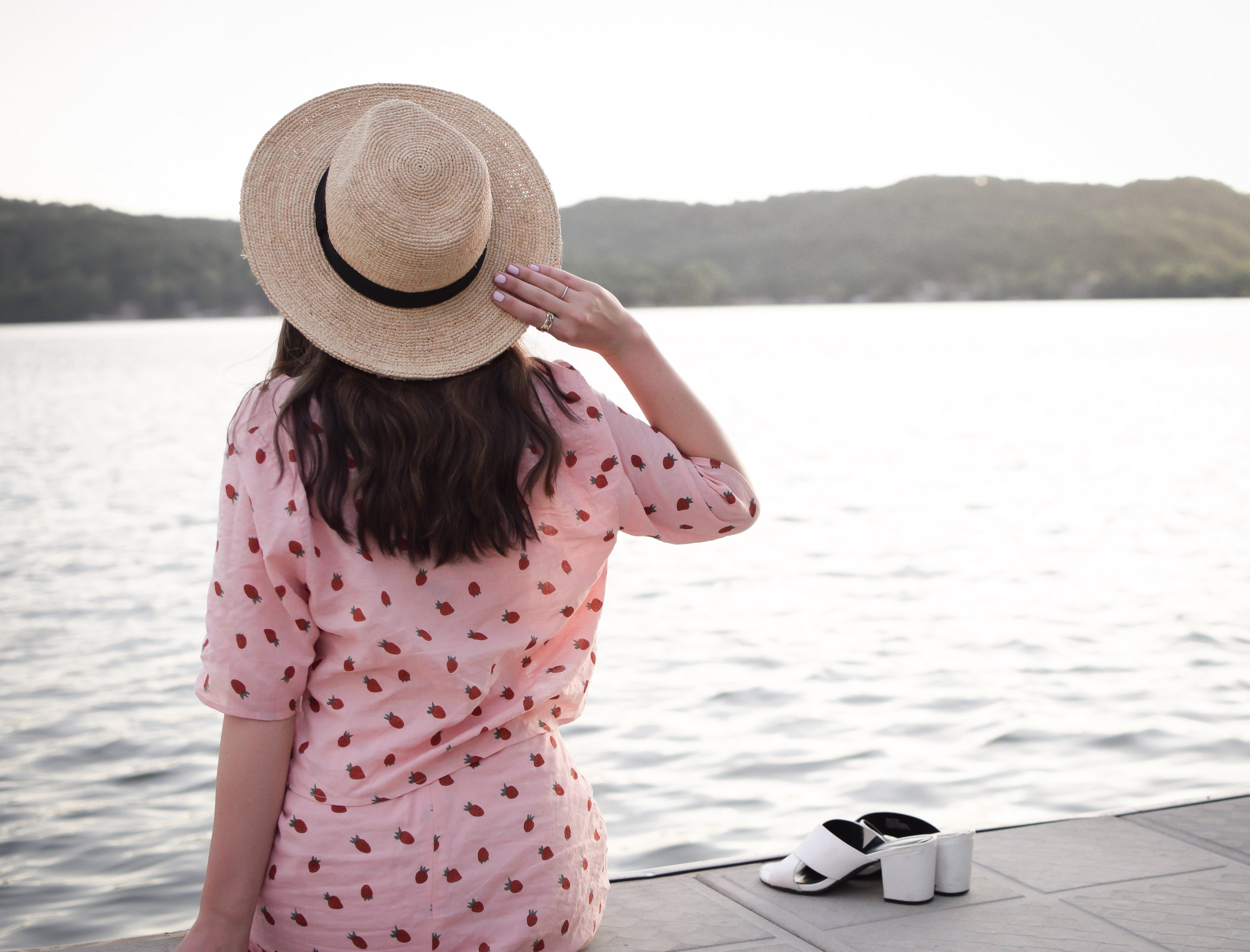 Strawberry Set Walmart Fashion Esther Santer Fashion Blog NYC Street Style Blogger Outfit OOTD Trendy Shopping Girl What How To Wear Affordable Fruit Trend Straw Hat Vacation Lake of the Ozarks White Mules  Sandals Nature Travel Shopping Two Piece Set.JPG